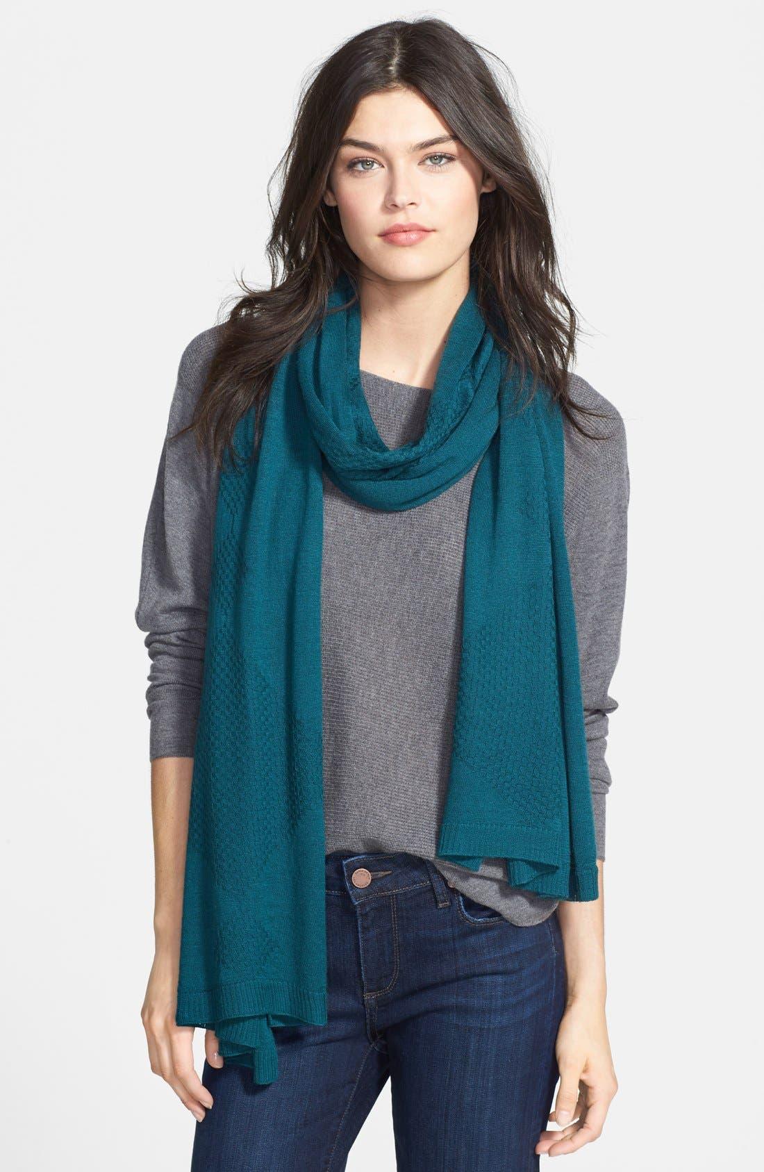 Main Image - Halogen® Diamond Stitch Wool Blend Wrap