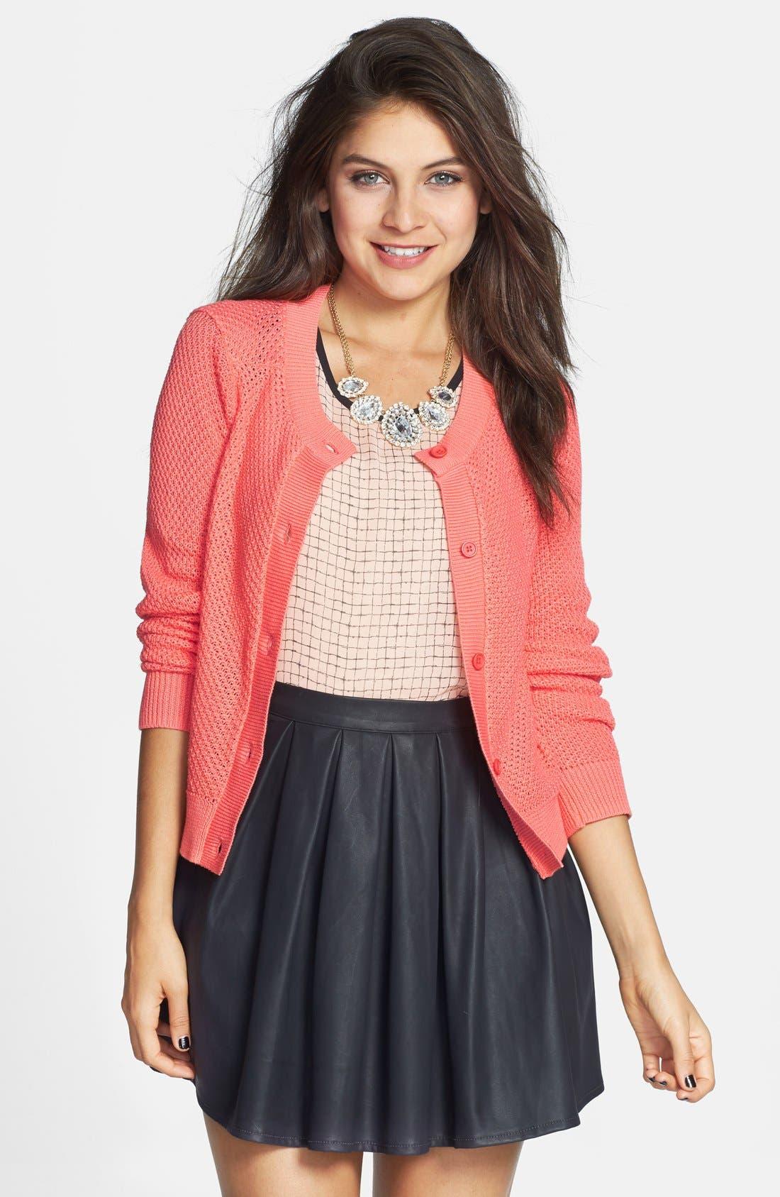 Main Image - BP. Cropped Textured Cotton Cardigan (Juniors)