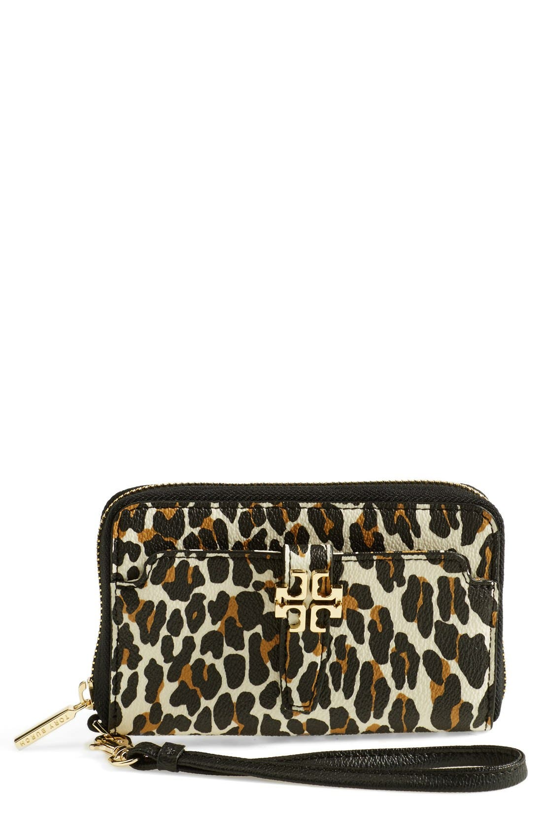 Alternate Image 1 Selected - Tory Burch 'Plaque' Leopard Print Smartphone Wristlet
