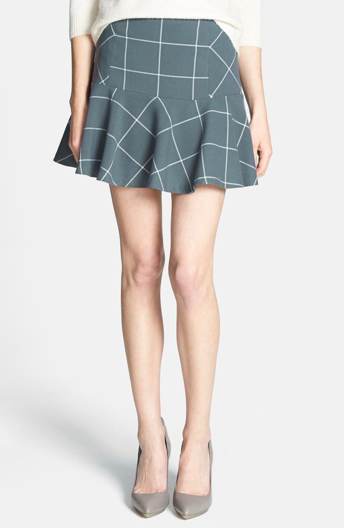 Main Image - 1.STATE Windowpane Plaid Skirt (Nordstrom Exclusive)
