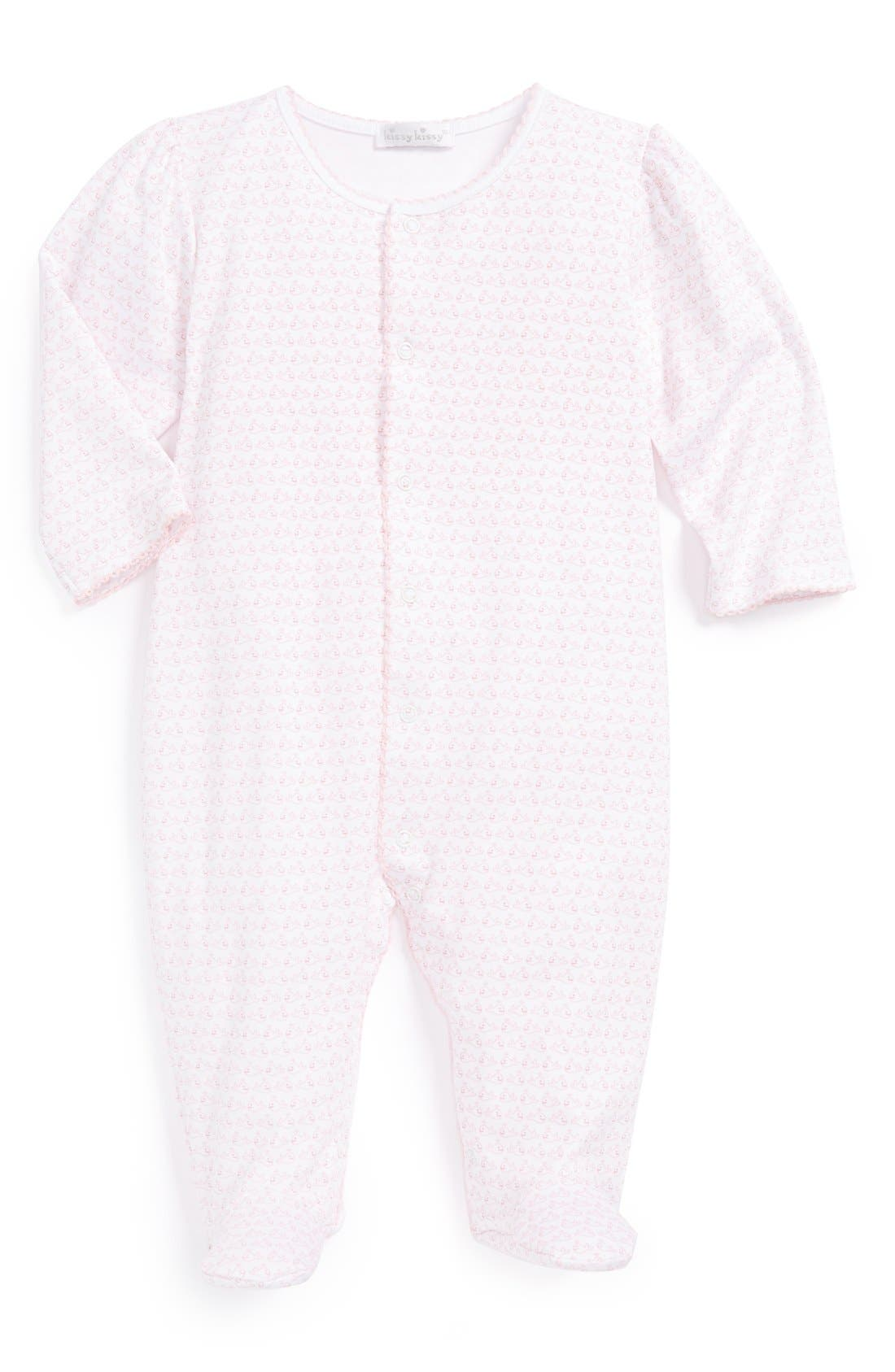 Alternate Image 1 Selected - Kissy Kissy 'Wandering Whales' Pima Cotton Footie (Baby Girls)