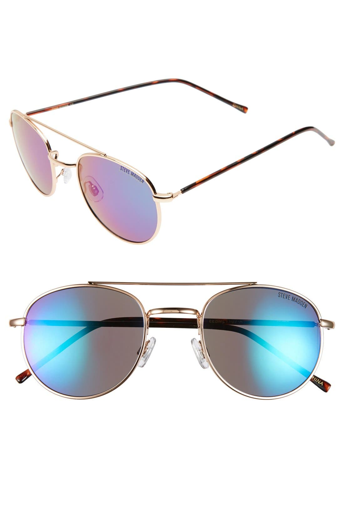 Main Image - Steve Madden 52mm Mirror Lens Aviator Sunglasses