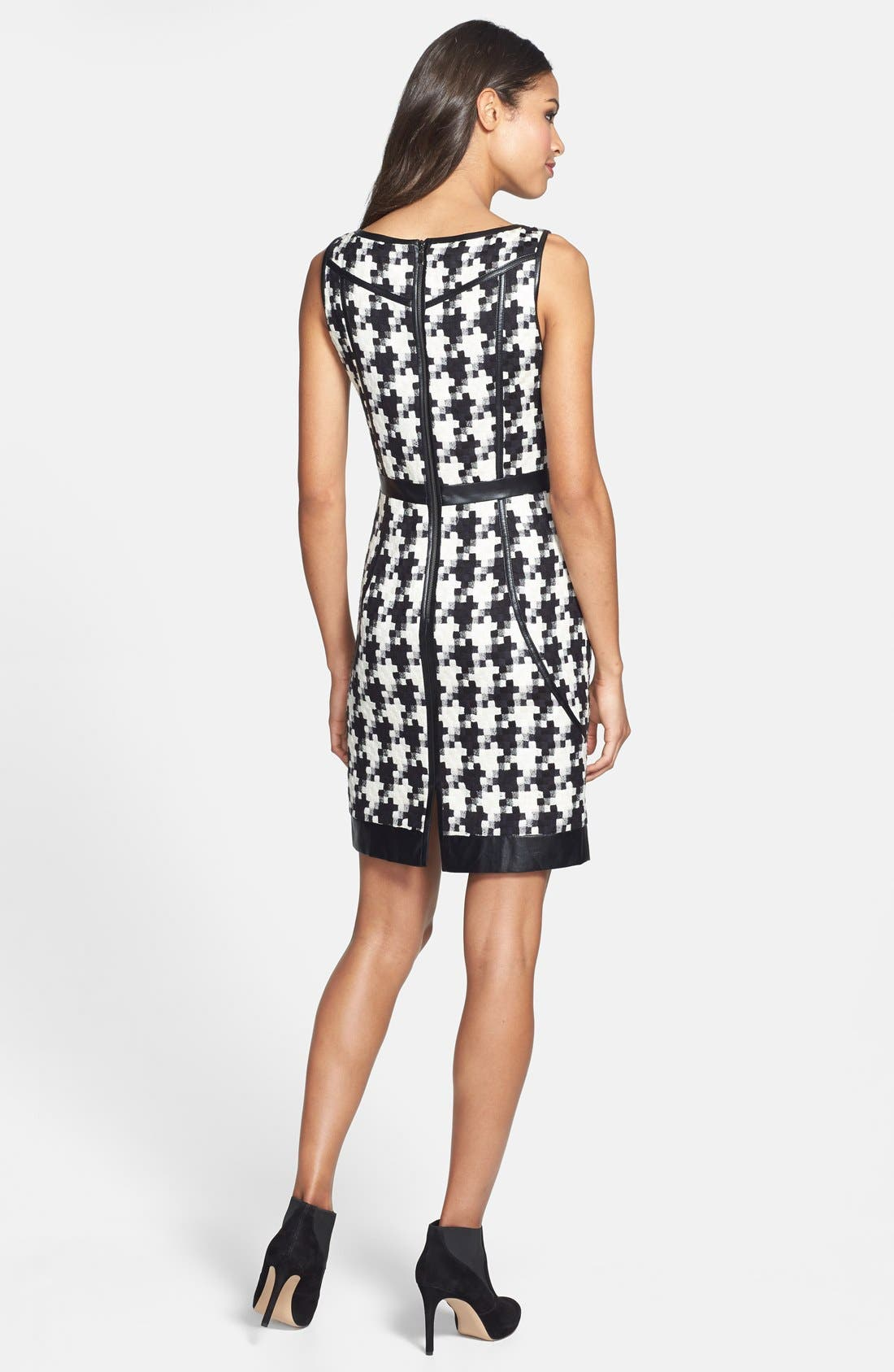Alternate Image 2  - Laundry by Shelli Segal Faux Leather Trim Houndstooth Sheath Dress