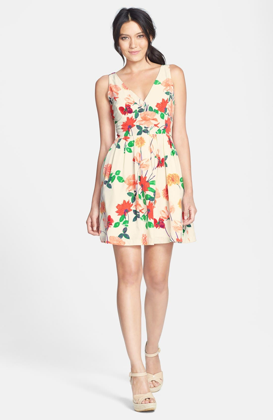 Alternate Image 3  - BB Dakota 'Basha' Floral Print Fit & Flare Dress