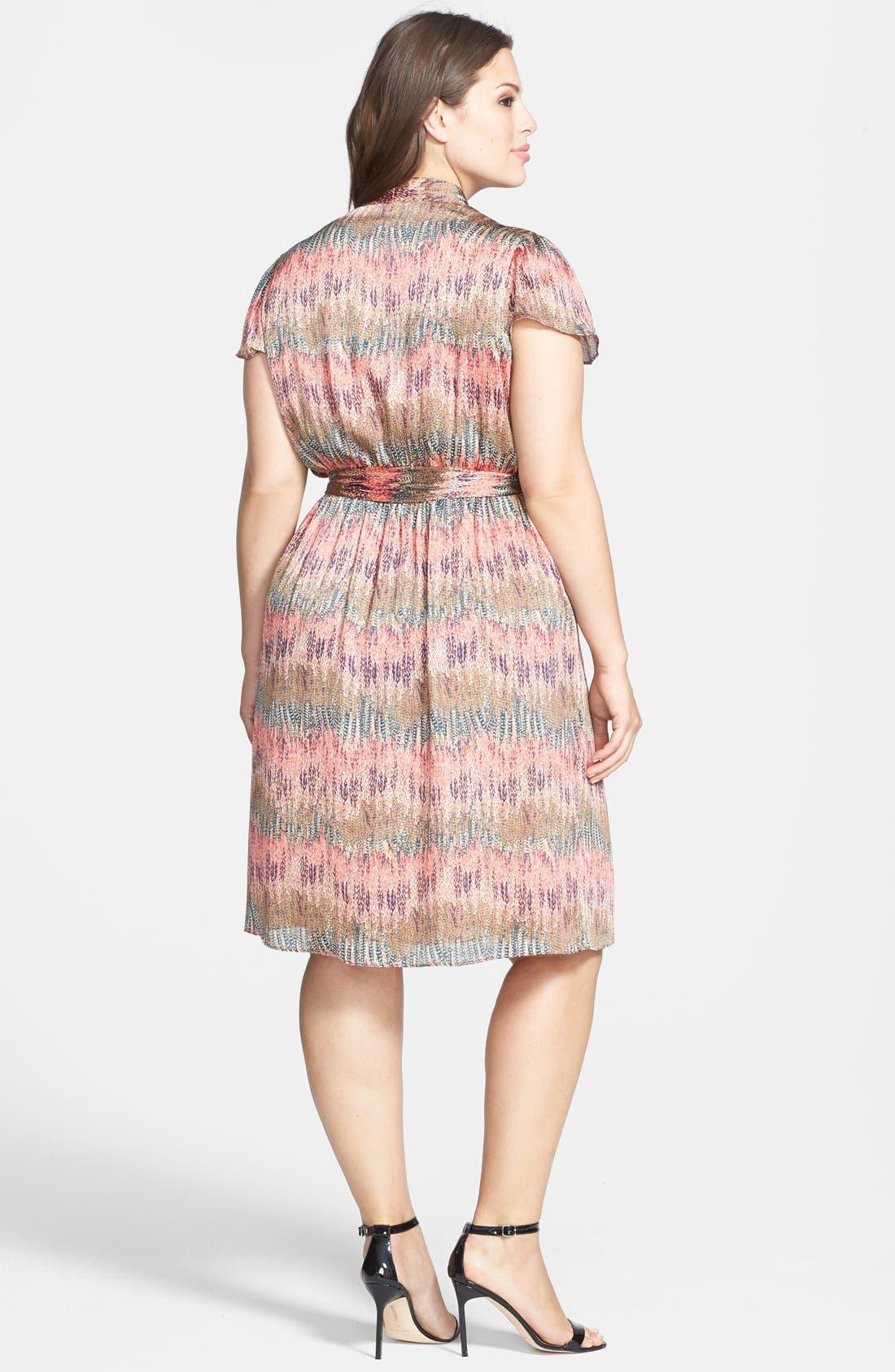 Alternate Image 2  - Donna Ricco Print Flutter Sleeve Faux Wrap Dress (Plus Size)