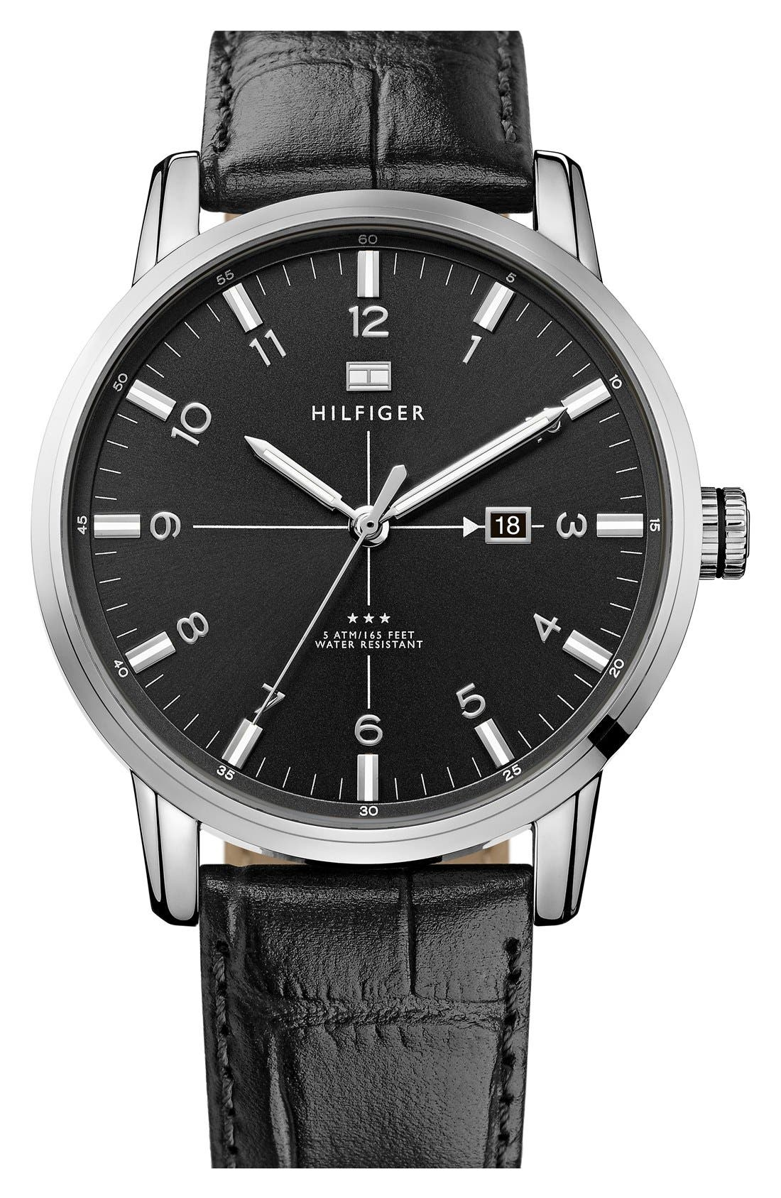 Main Image - Tommy Hilfiger Round Embossed Leather Strap Watch, 44mm