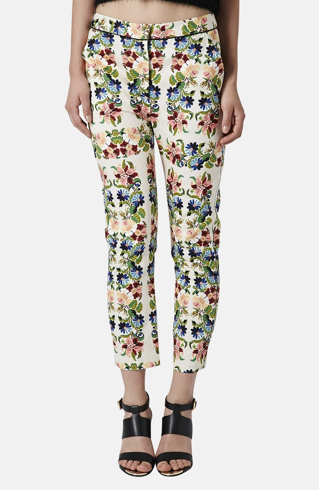 Main Image - Topshop Floral Tapestry Cigarette Pants