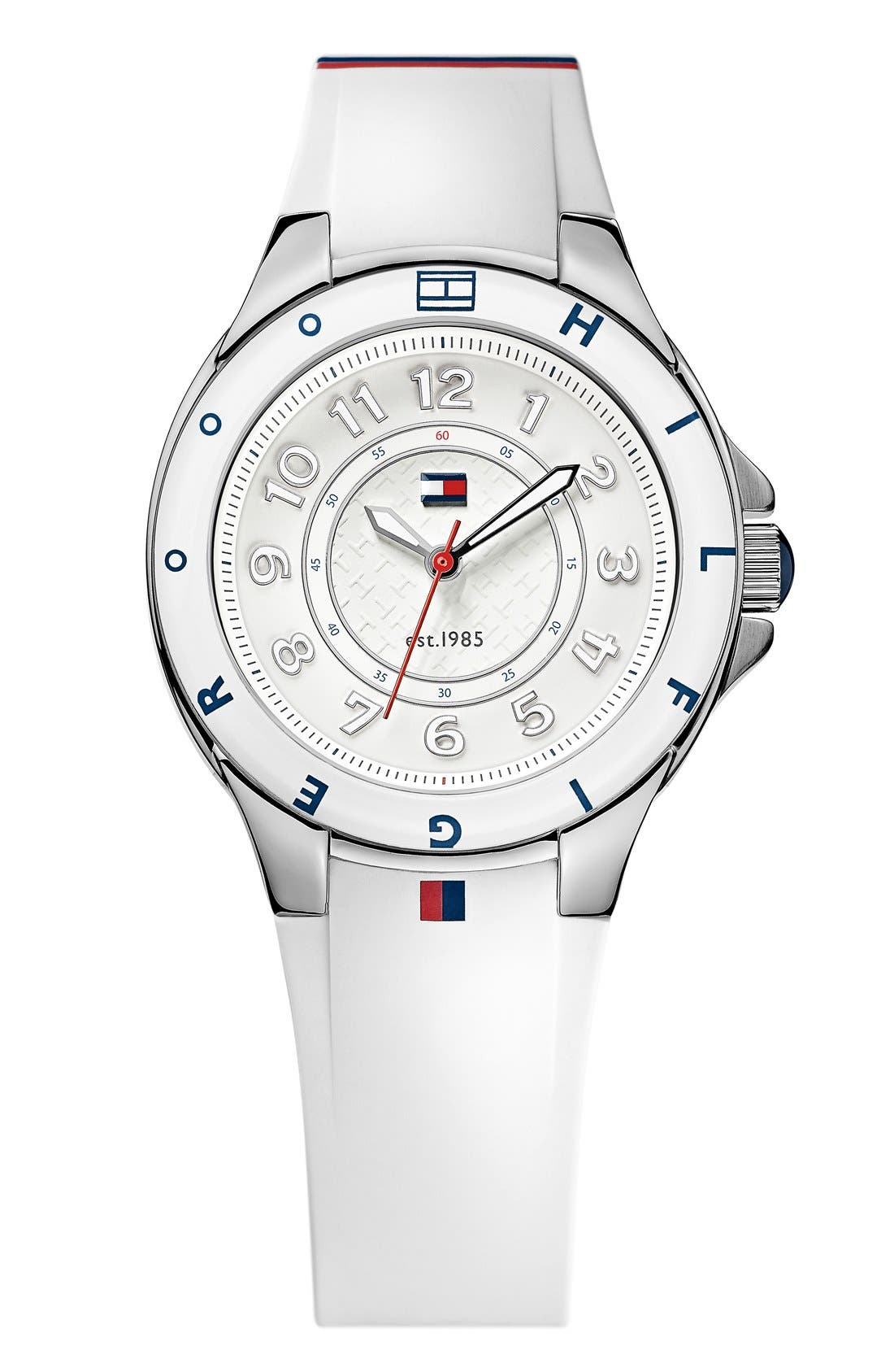 Alternate Image 1 Selected - Tommy Hilfiger Round Silicone Strap Watch, 34mm