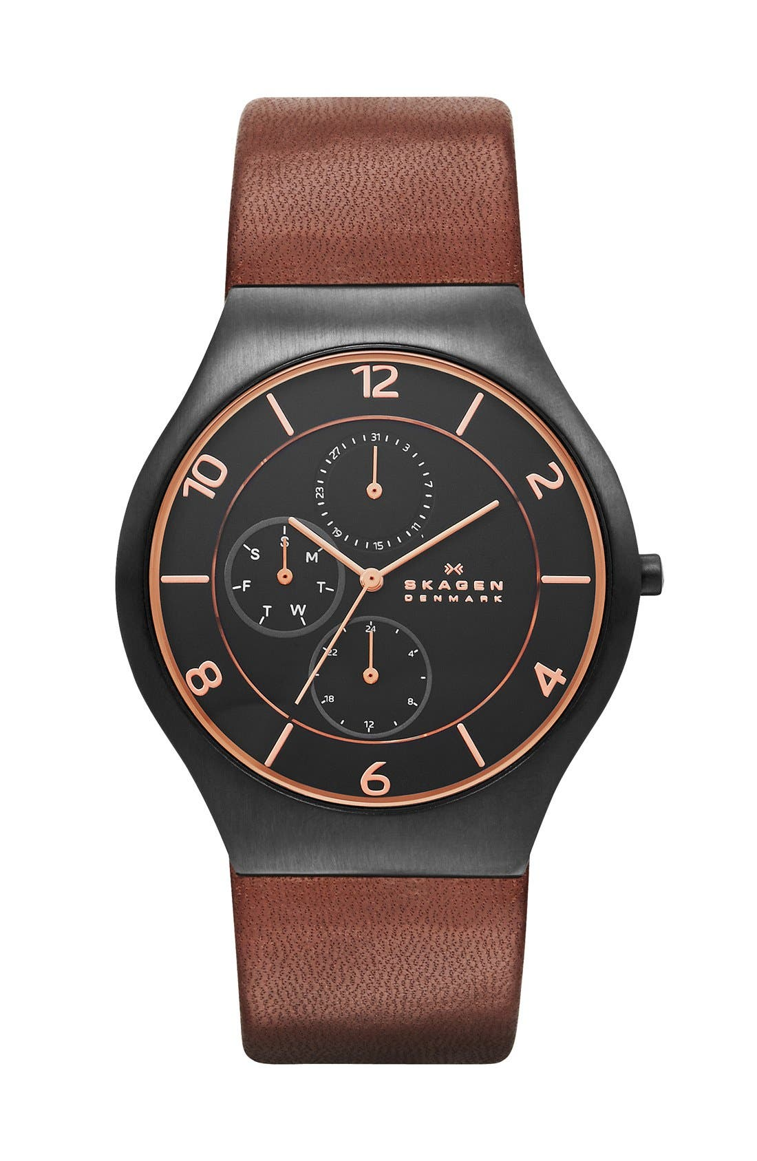 Alternate Image 1 Selected - Skagen 'Grenen' Round Multifunction Leather Strap Watch, 41 mm