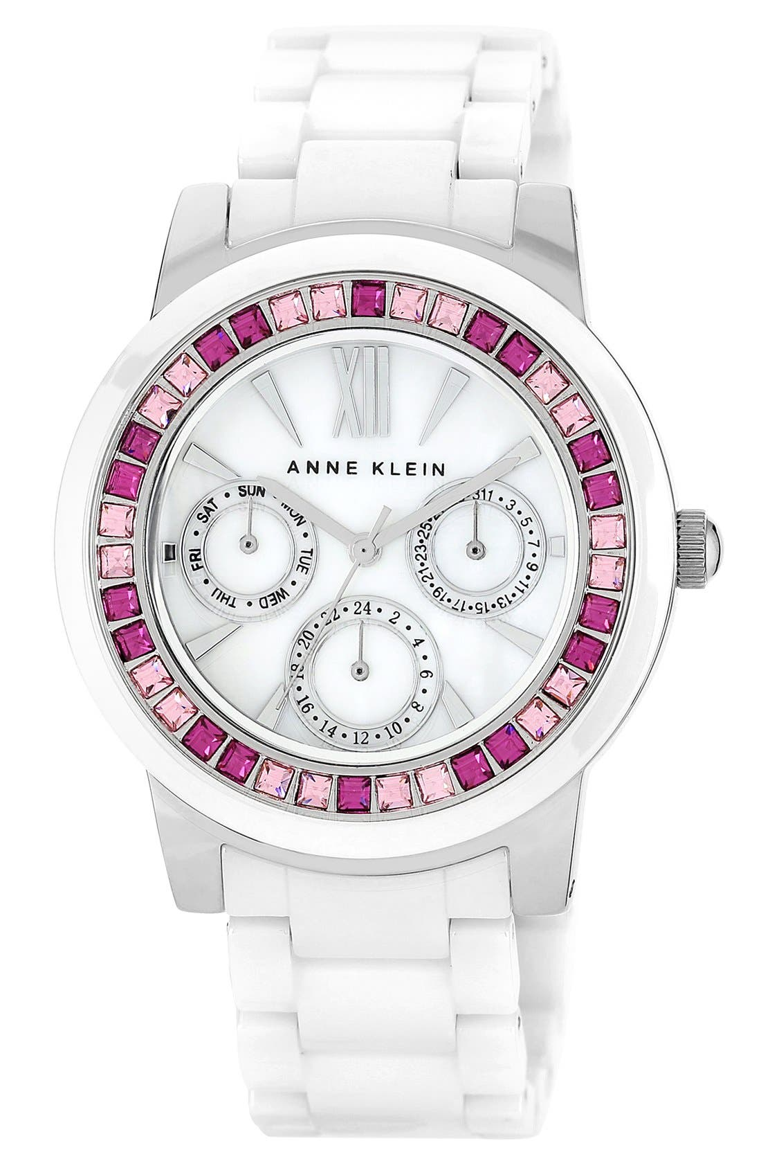 Alternate Image 1 Selected - Anne Klein Crystal Bezel Multifunction Ceramic Bracelet Watch, 34mm