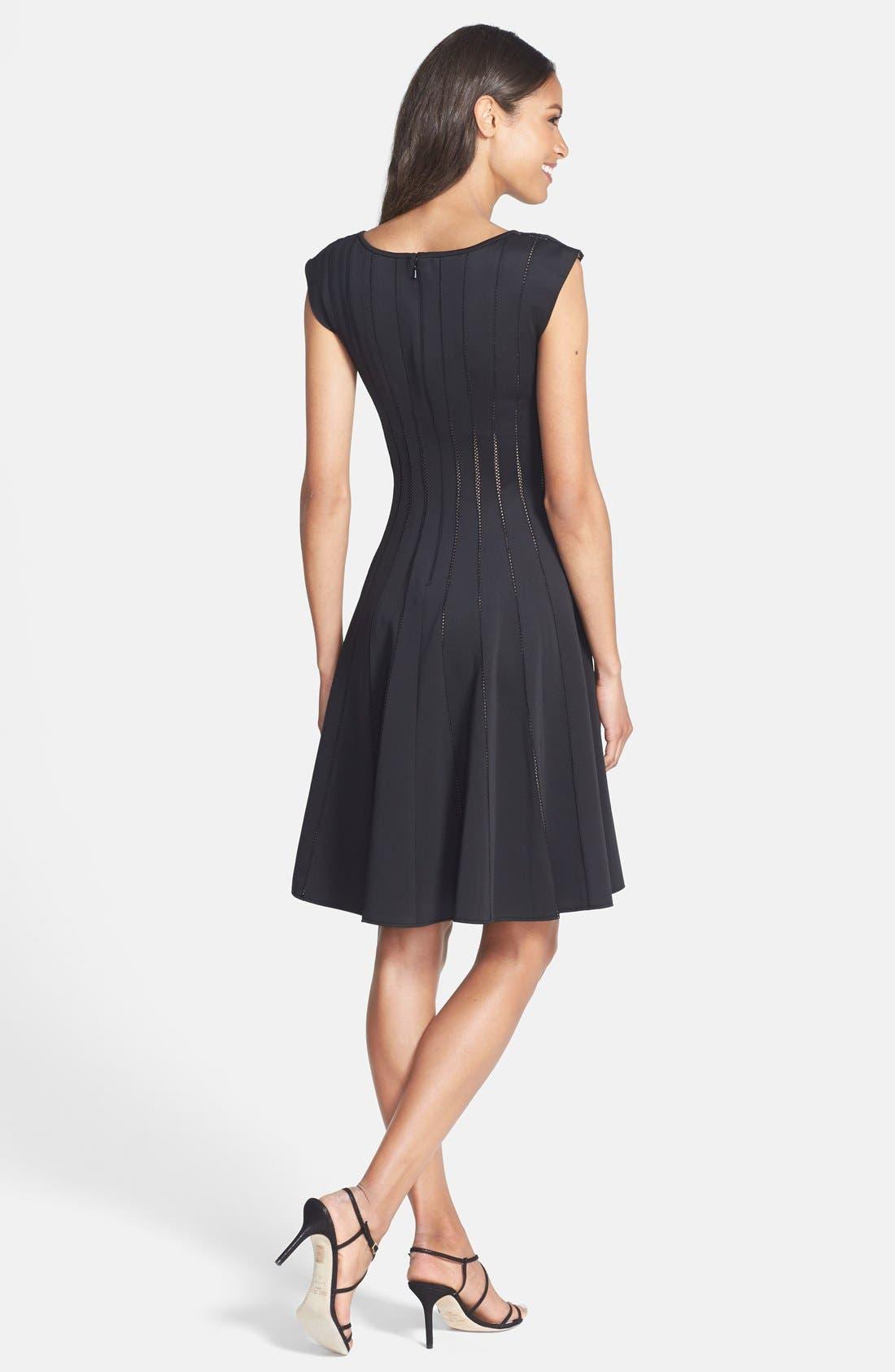 Alternate Image 2  - Tadashi Shoji Mesh Detail Knit Fit & Flare Dress