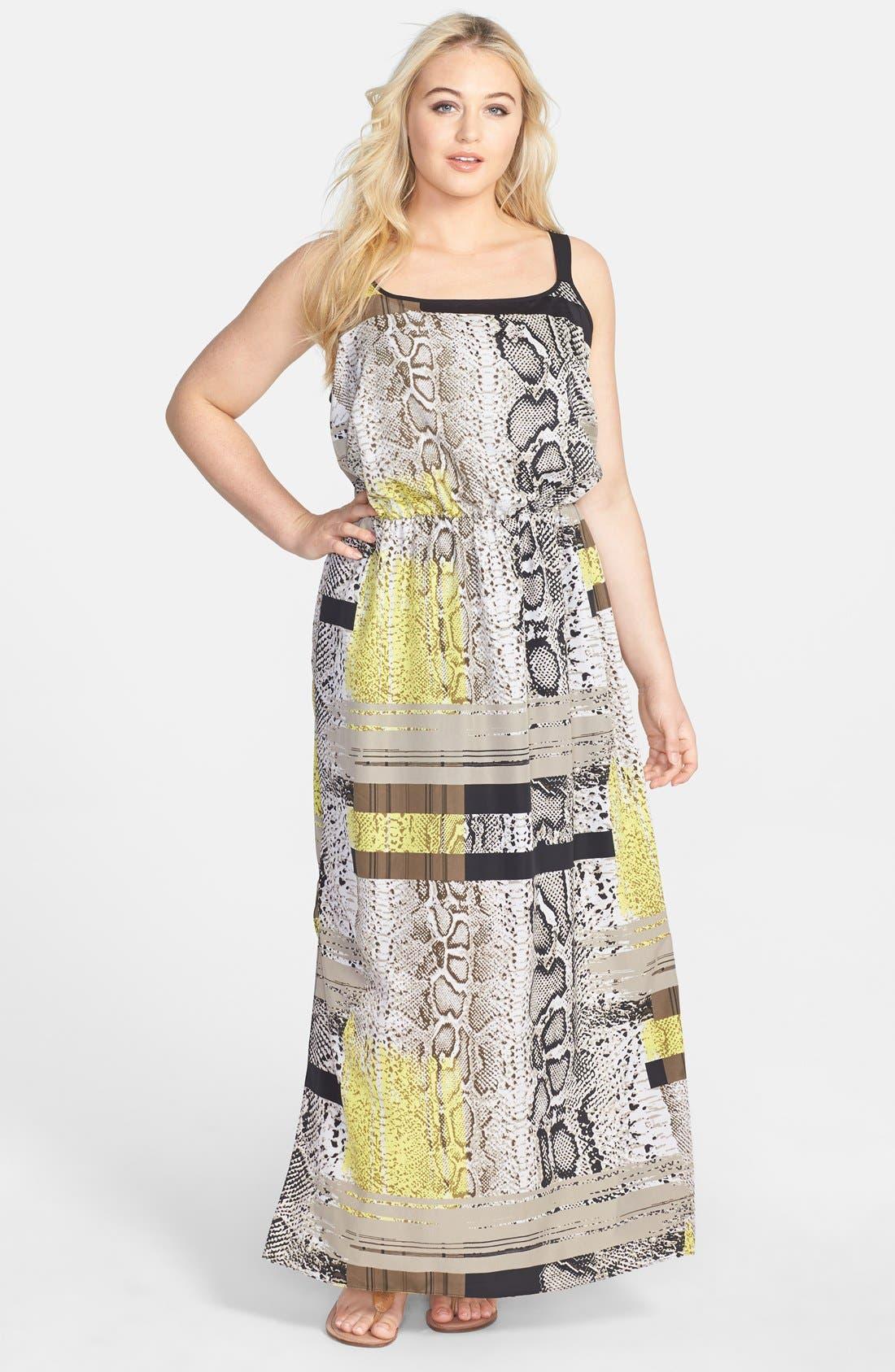 Main Image - Vince Camuto Neo Snakeskin Print Maxi Dress (Plus Size)