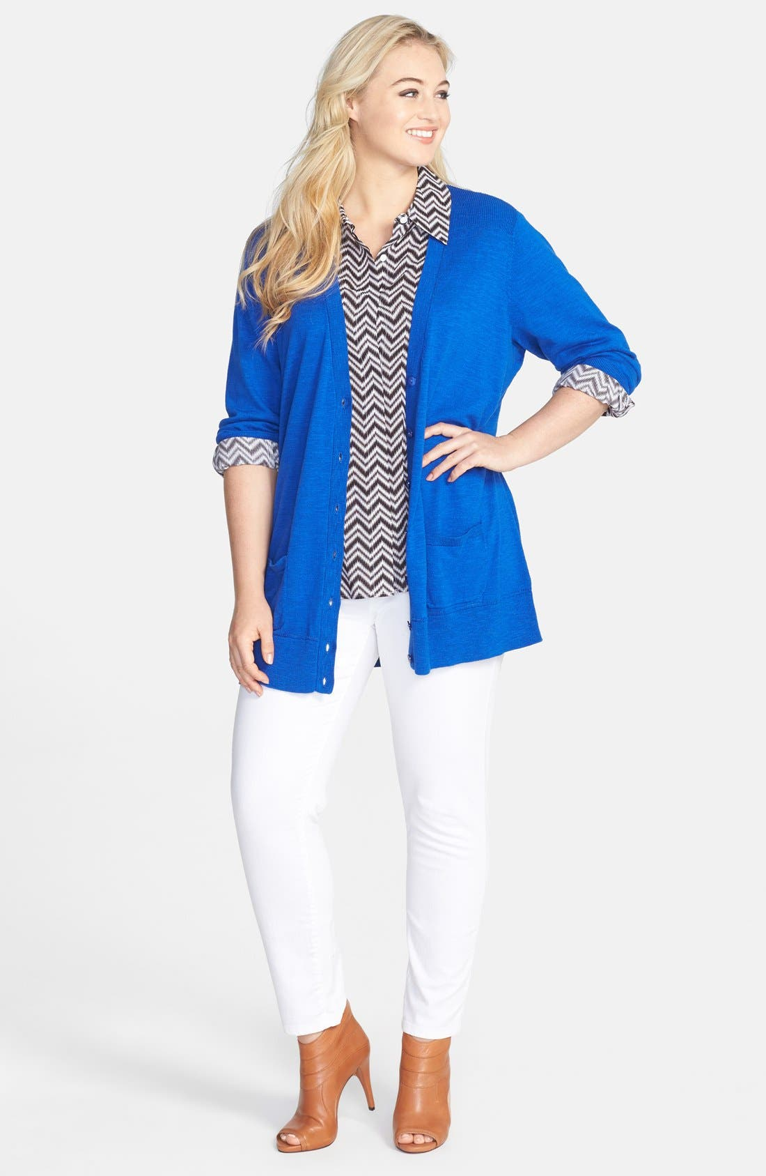 Alternate Image 4  - Foxcroft Chevron Stripe Shaped Shirt (Plus Size)