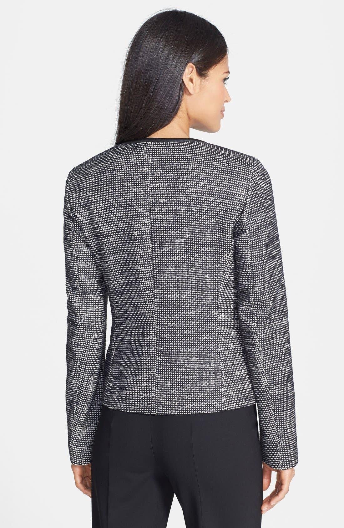 Alternate Image 2  - BOSS 'Koralia' Leather Trim Collarless Tweed Jacket