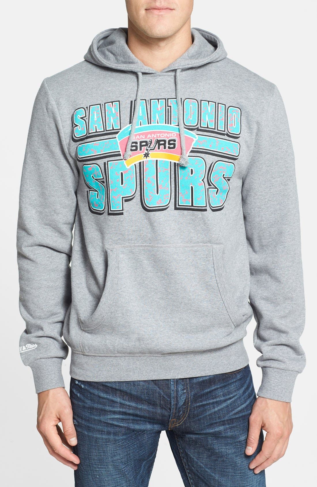 Alternate Image 1 Selected - Mitchell & Ness 'San Antonio Spurs - Bold Block' Tailored Fit Hoodie