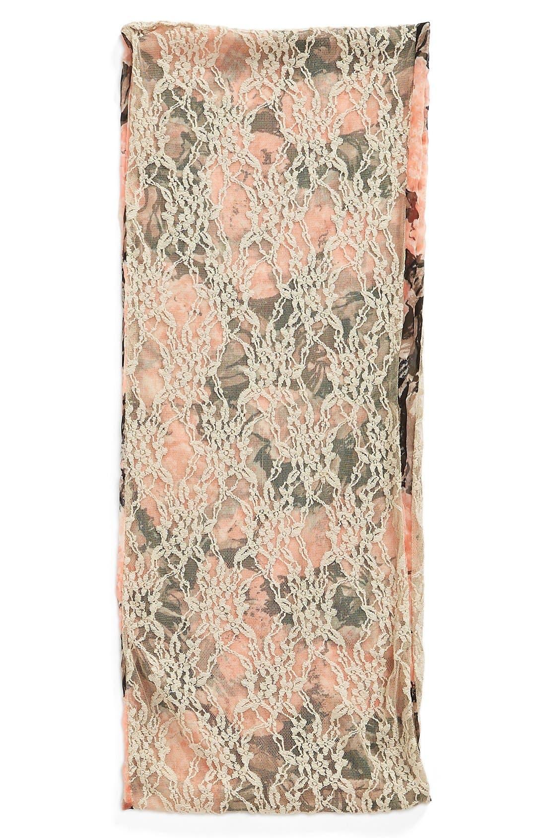 Alternate Image 2  - Hinge 'Boho Garden' Crinkle Chiffon Infinity Scarf