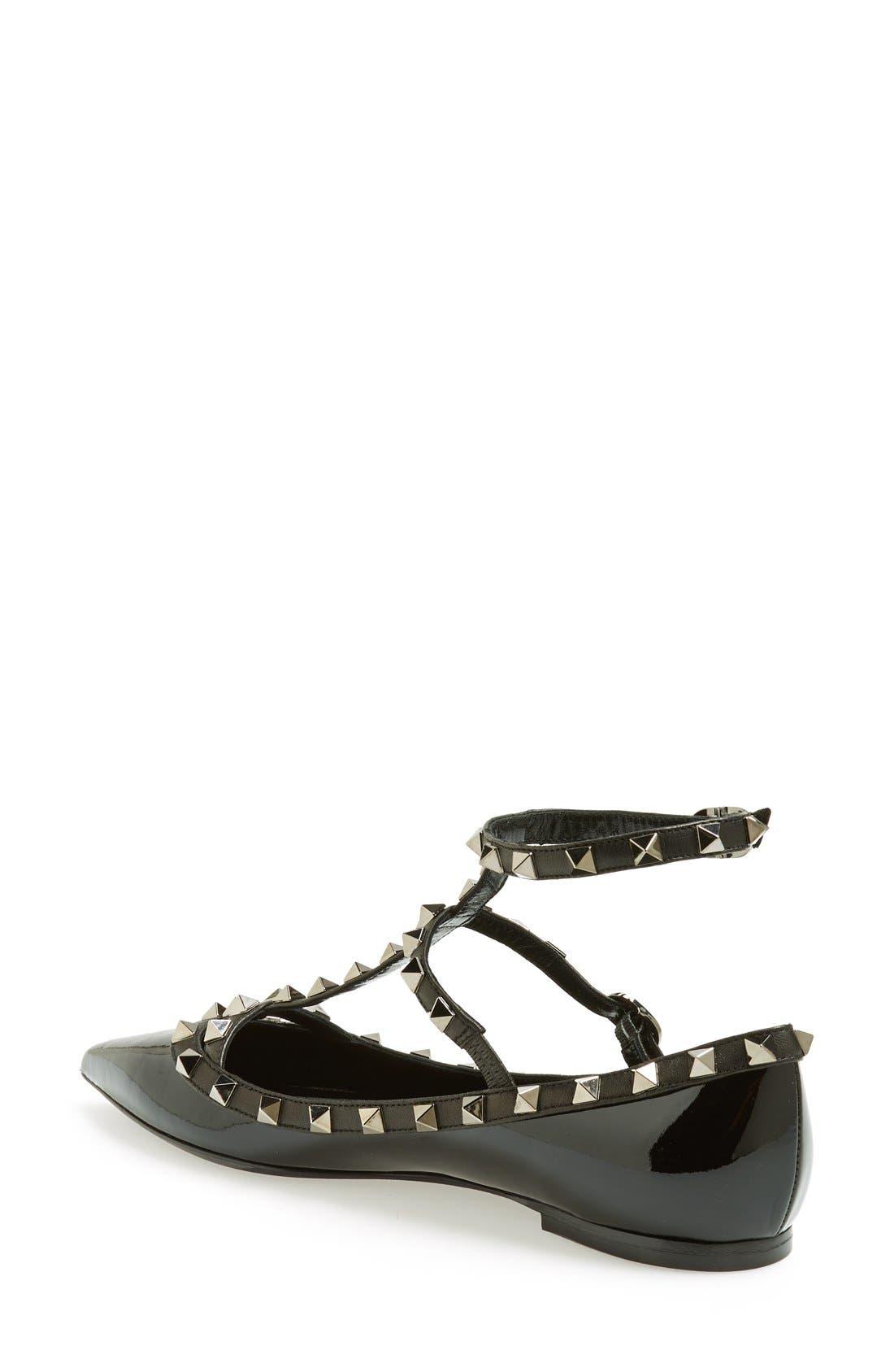 Alternate Image 2  - Valentino 'Noir Rockstud' Double Ankle Strap Patent Leather Pointy Toe Flat (Women)