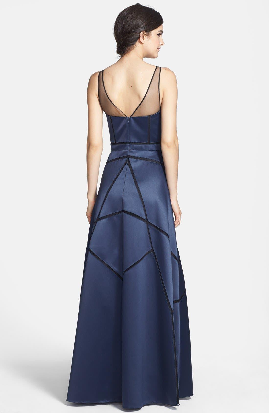 Alternate Image 2  - Aidan Mattox Illusion Neck Seam Detail Satin Gown