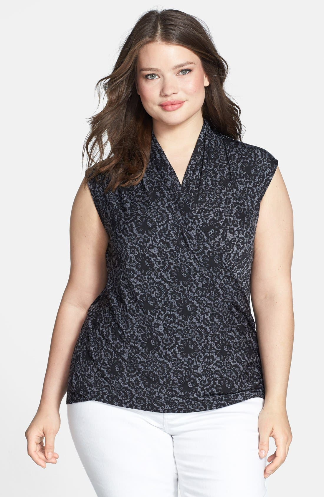 Alternate Image 1 Selected - Vince Camuto 'Chantilly' Lace Print V-Neck Top (Plus Size)