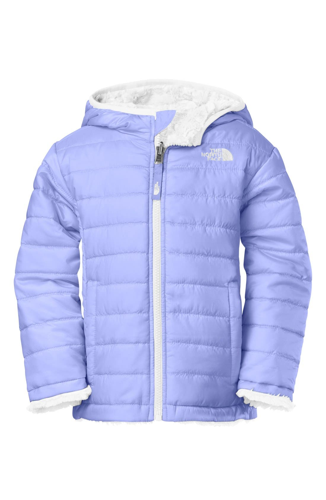 Main Image - The North Face 'Mossbud Swirl' Reversible Water Repellent Jacket (Little Girls)