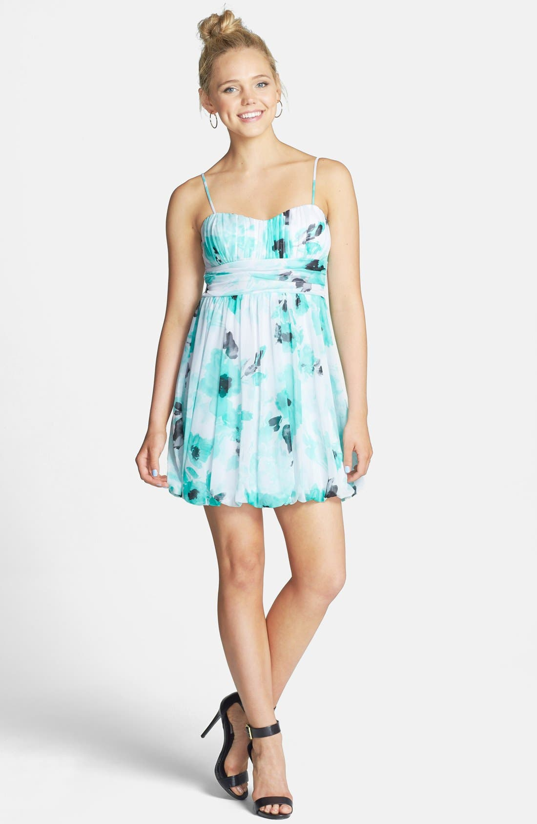 Alternate Image 1 Selected - Speechless Floral Print Ruched Fit & Flare Dress (Juniors)