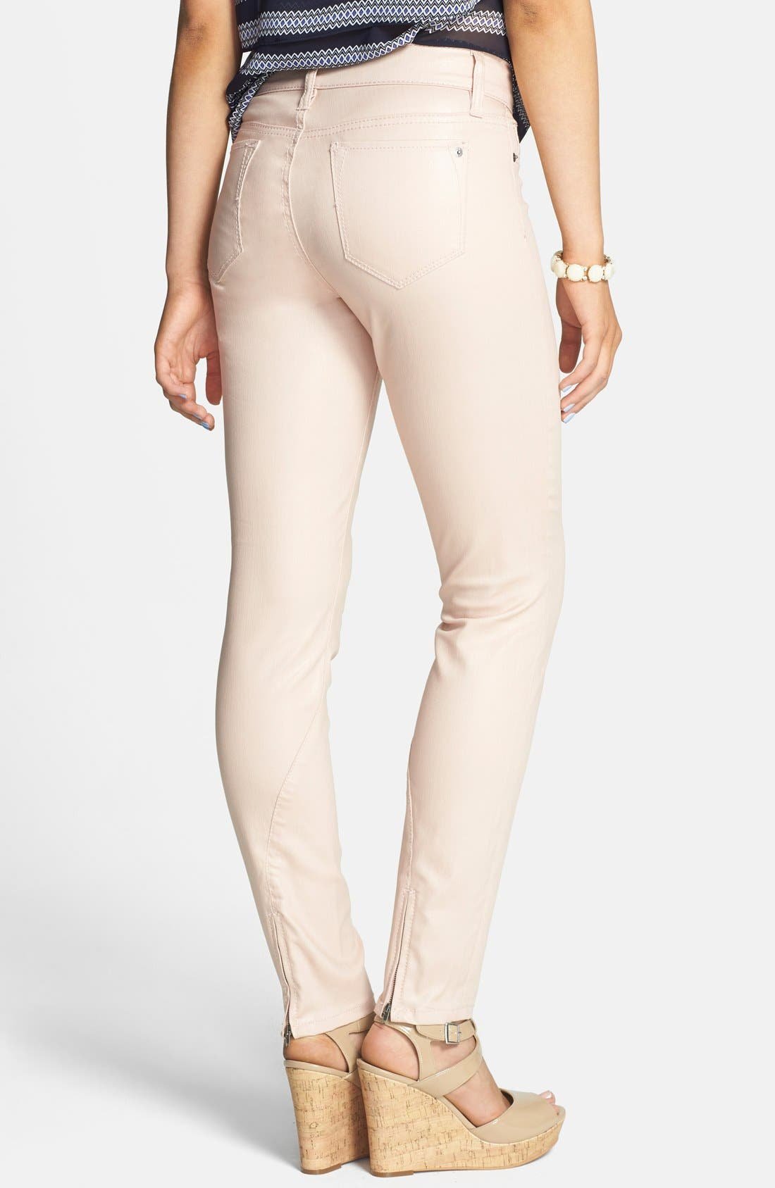 Alternate Image 2  - Standards & Practices Zip Cuff Coated Skinny Jeans (Coated Rose)