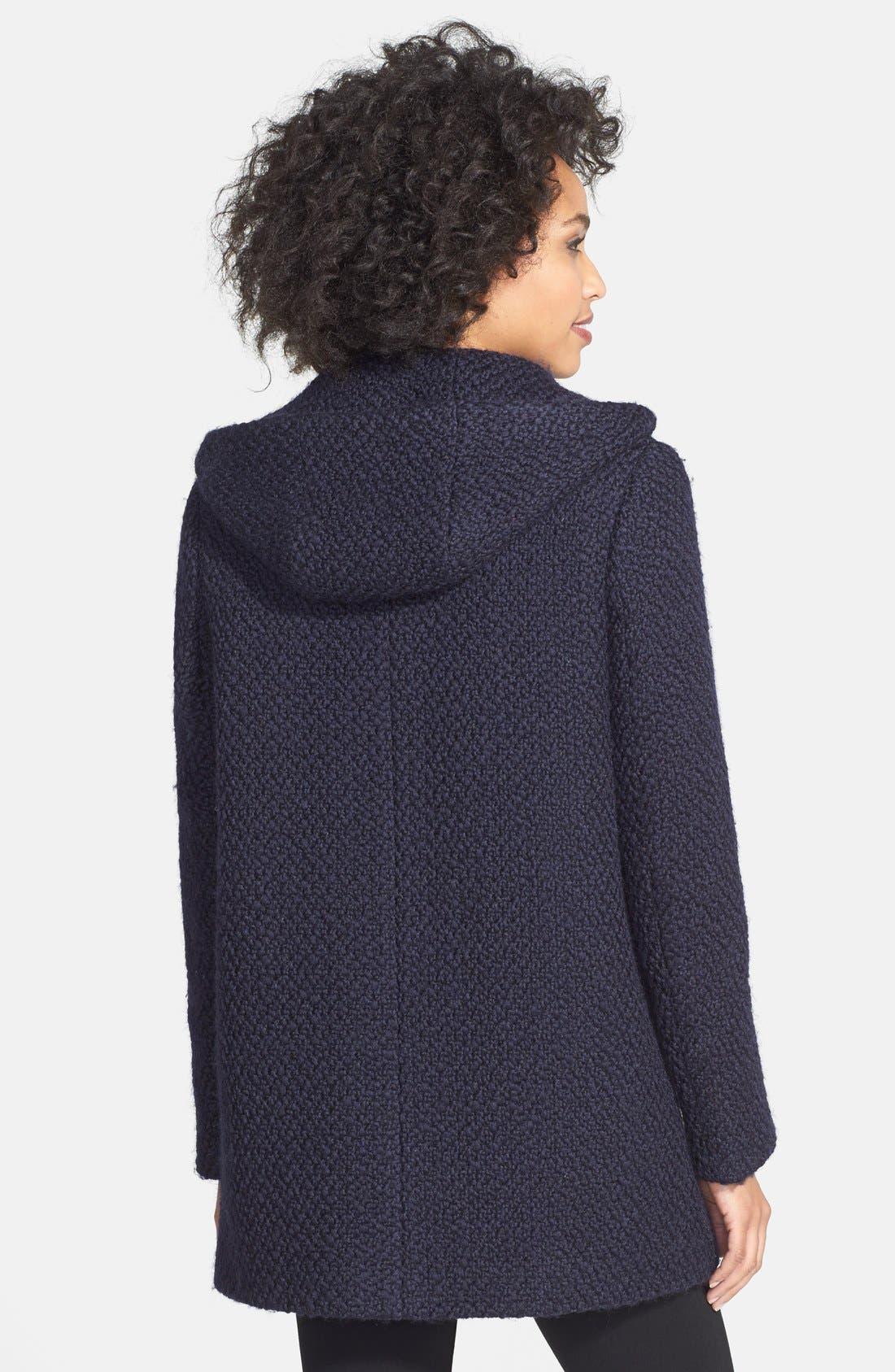 Alternate Image 3  - Calvin Klein Hooded Asymmetric Zip Bouclé Coat