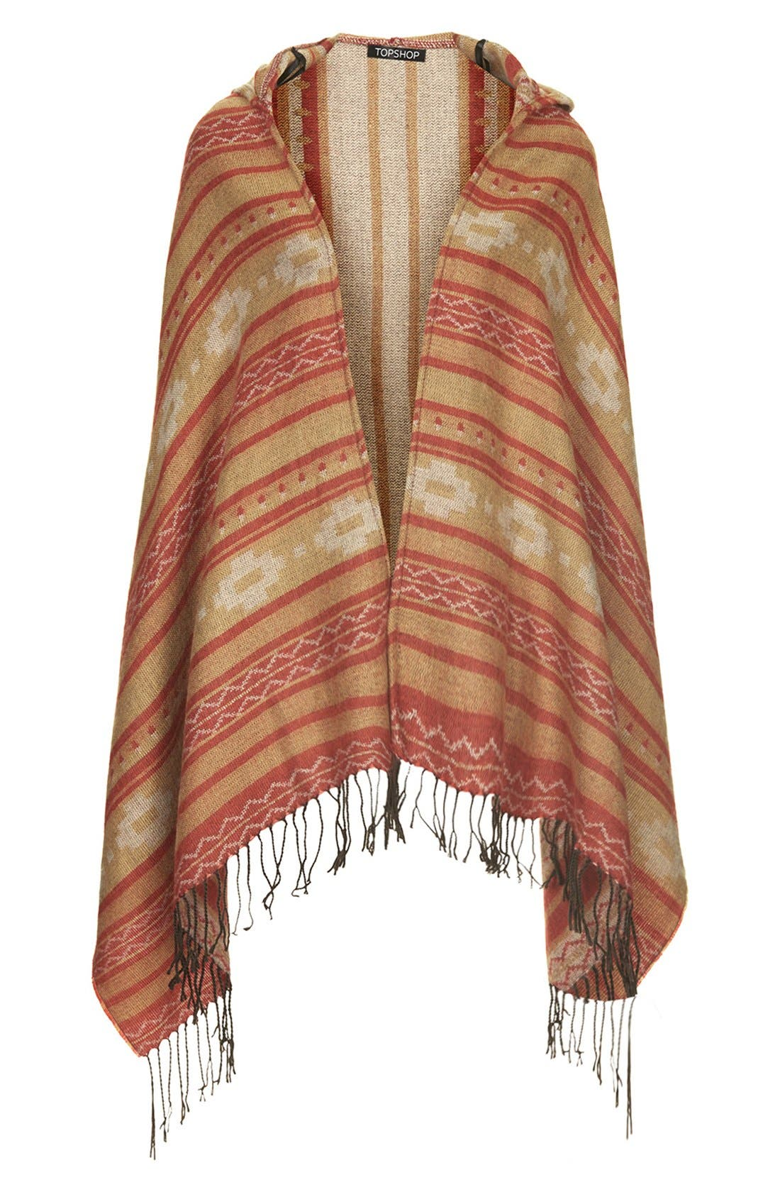 Alternate Image 1 Selected - Topshop Hooded Blanket Print Wrap