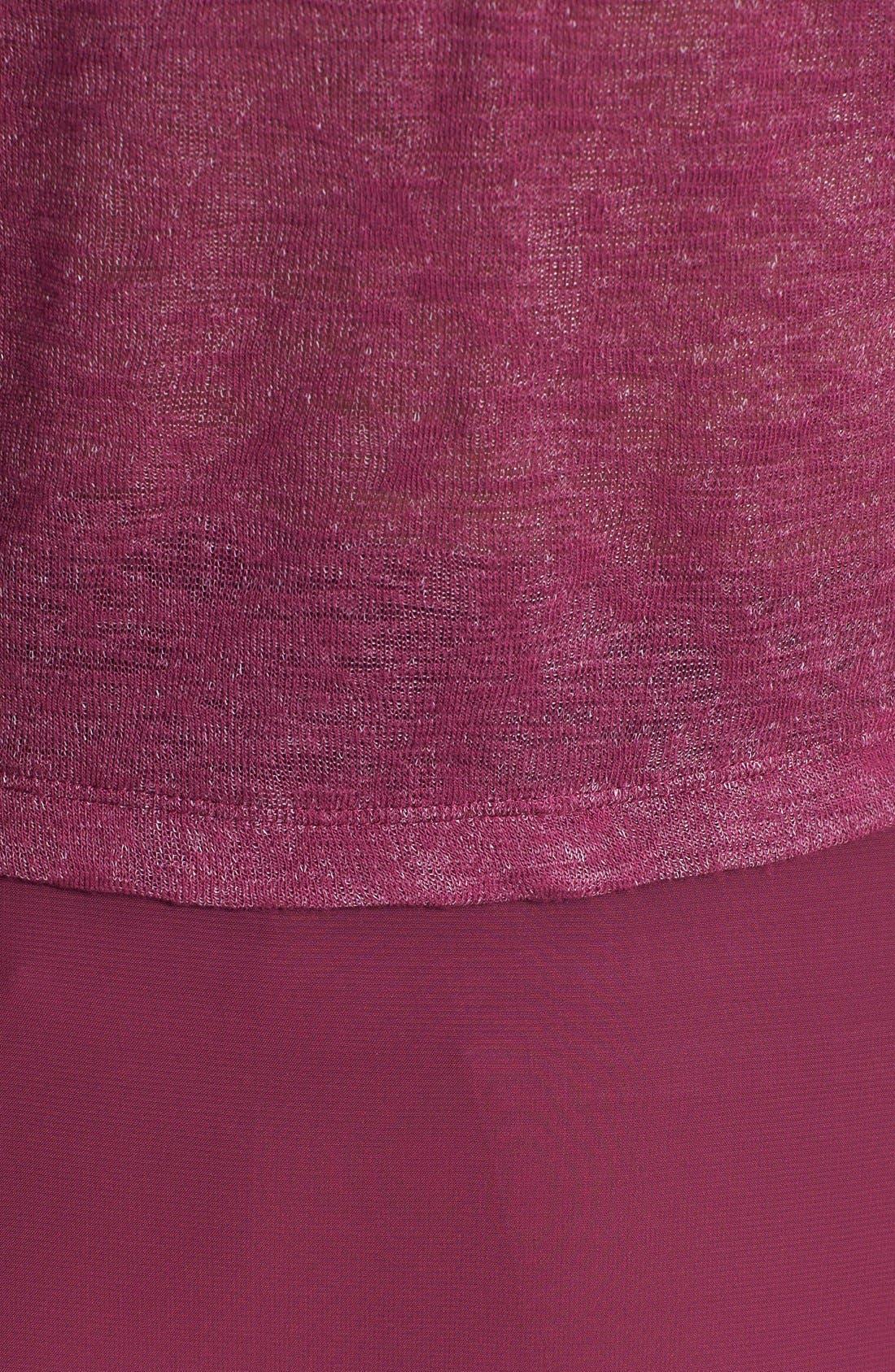 Alternate Image 3  - Olivia Moon Mixed Media Tab Sleeve Top (Regular & Petite)