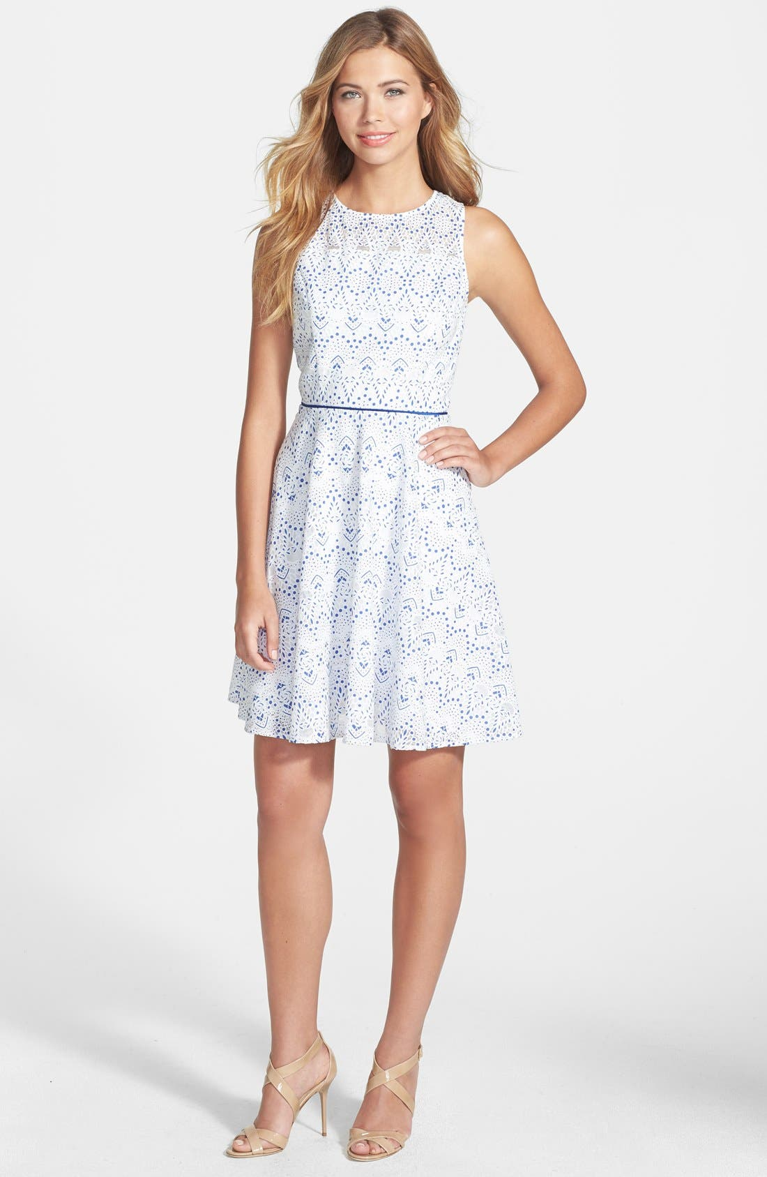 Alternate Image 3  - Maia Print Lace Fit & Flare Dress