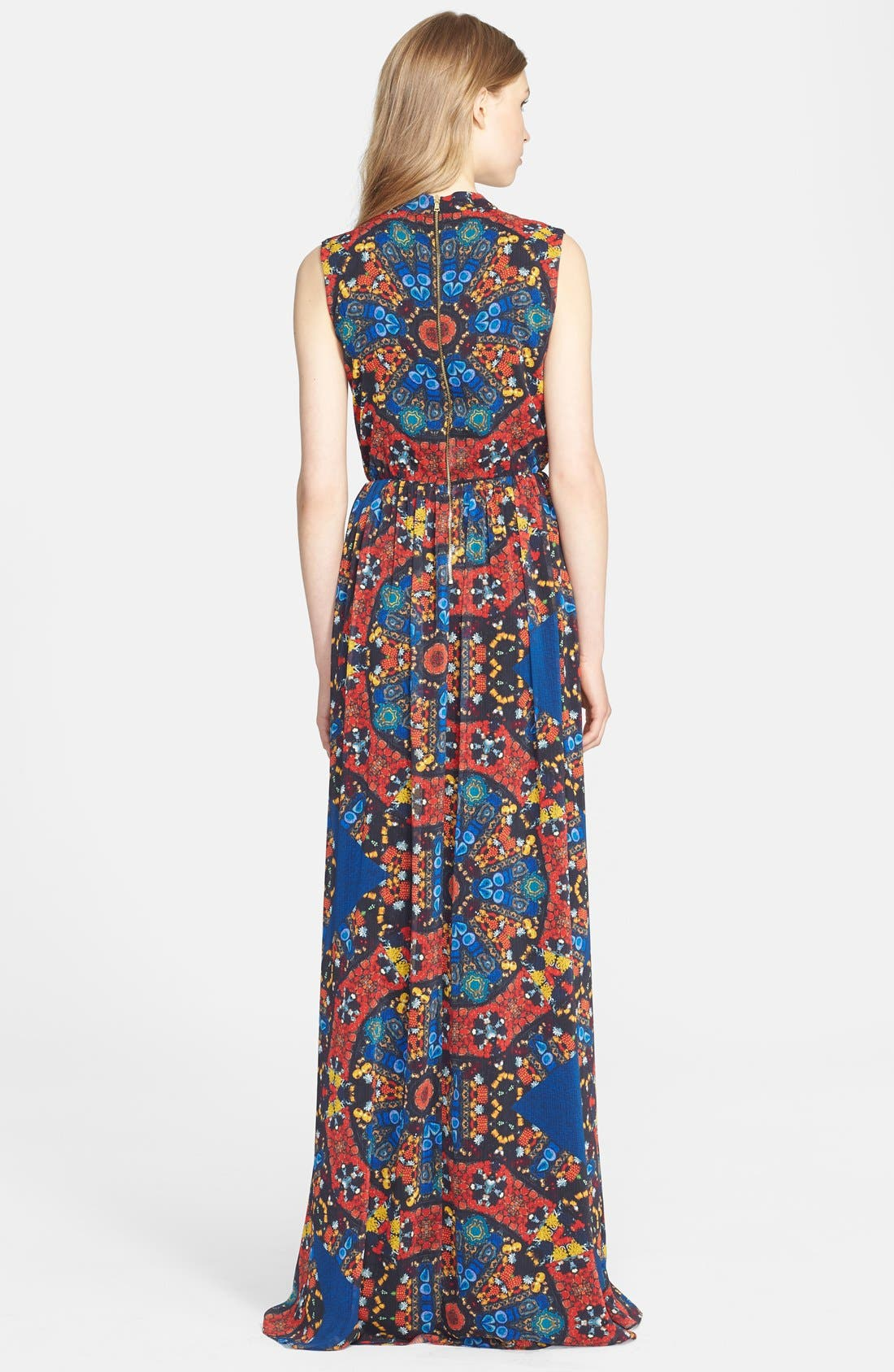 Alternate Image 2  - Alice + Olivia 'Marianna' Print Crinkled Chiffon Maxi Dress
