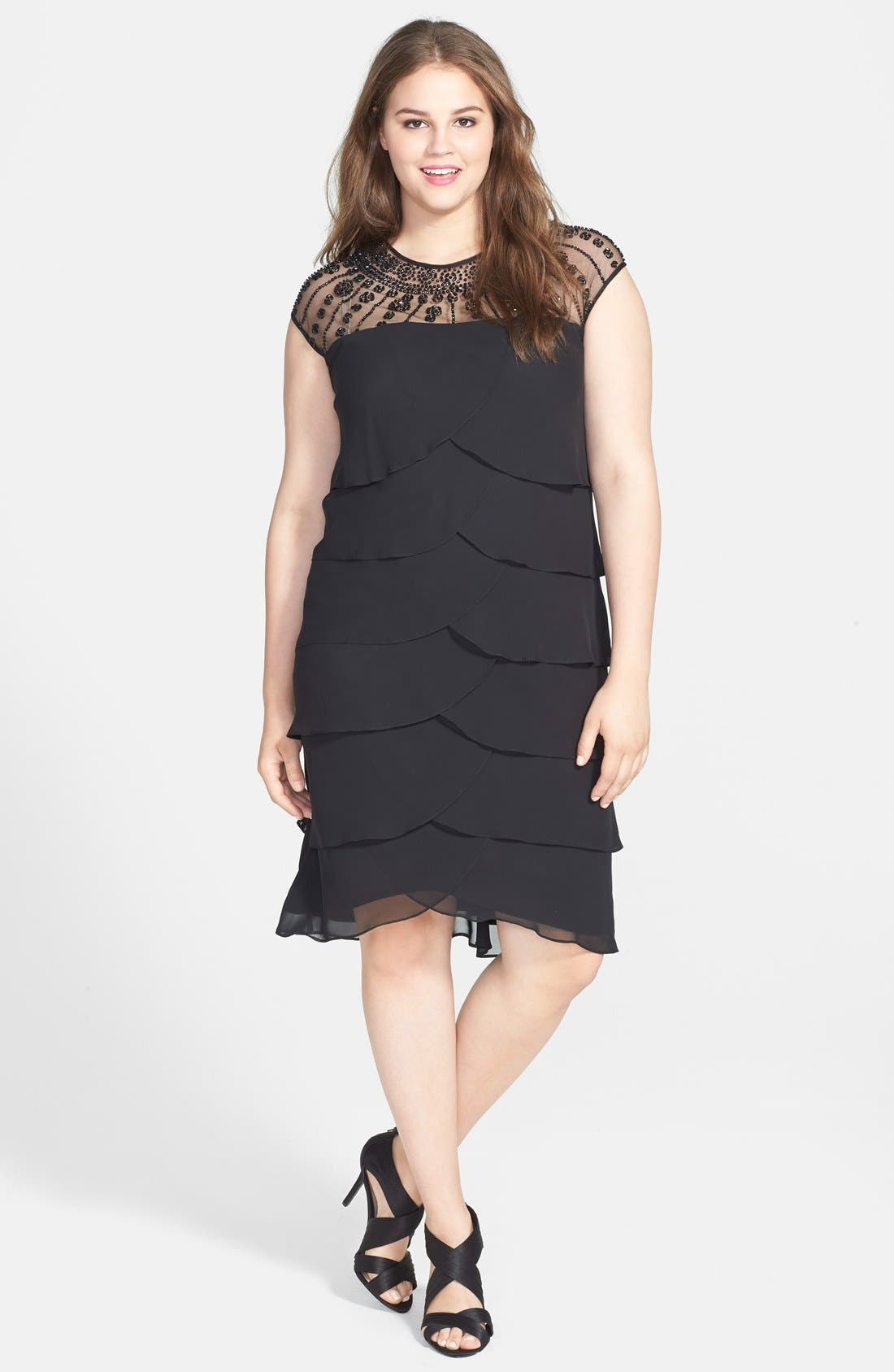Alternate Image 1 Selected - Patra Beaded Yoke Tiered Dress (Plus Size)