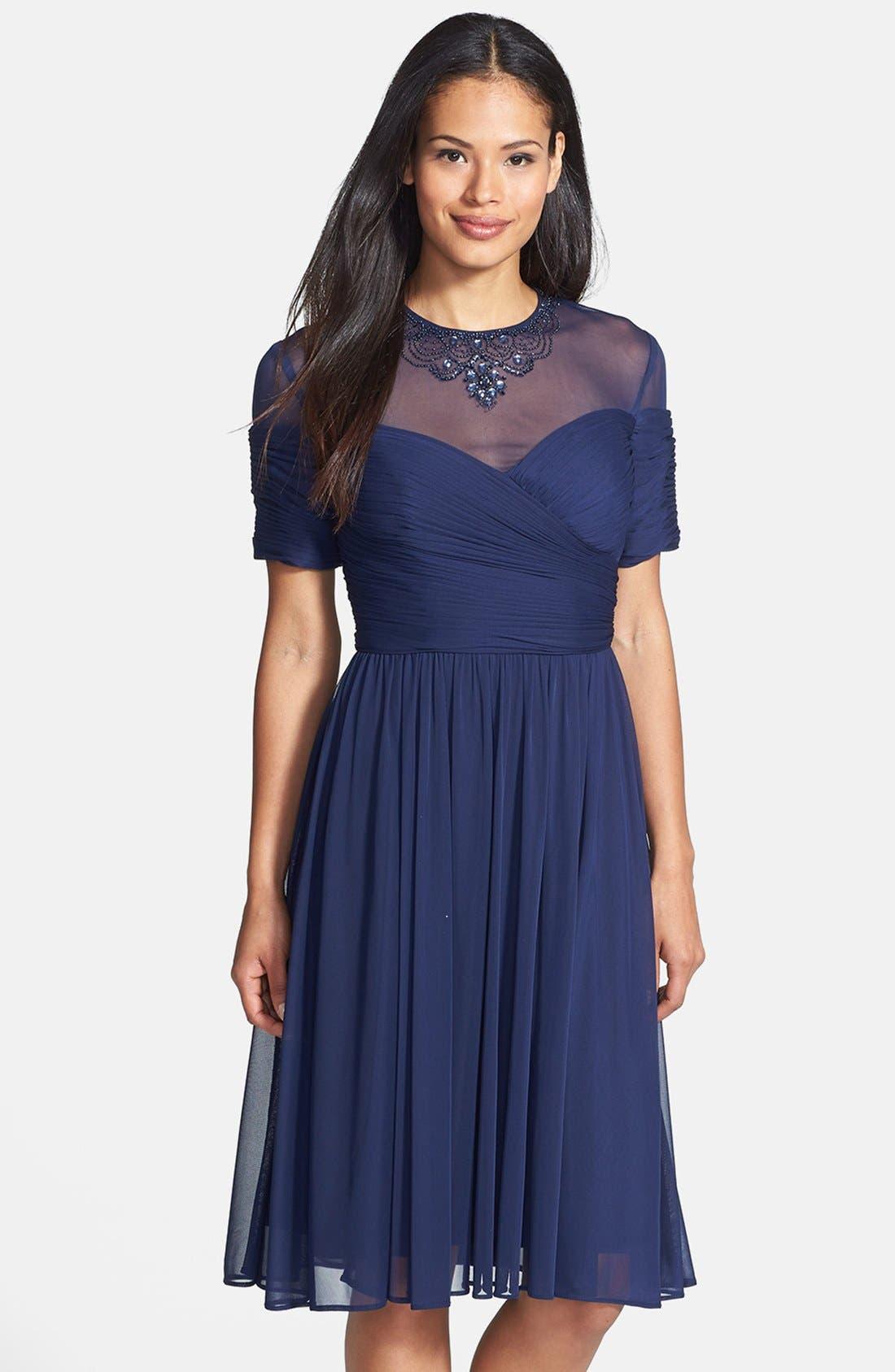 Main Image - Alex Evenings Embellished Illusion Yoke Chiffon Fit & Flare Dress (Regular & Petite)