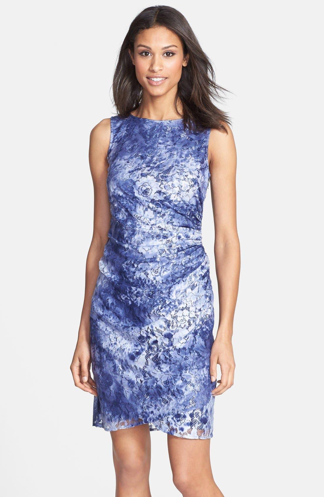 Main Image - Adrianna Papell Tie Dye Lace Sheath Dress (Regular & Petite)