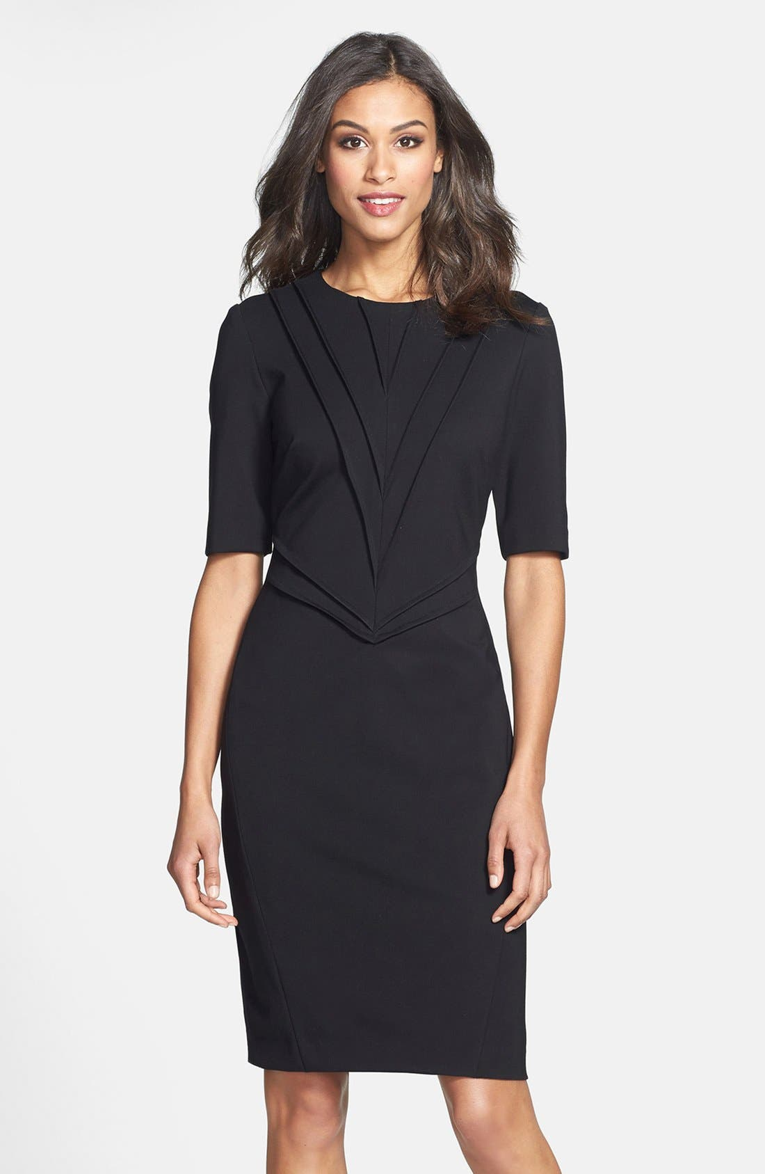 Main Image - Taylor Dresses Pintuck Detail Ponte Sheath Dress