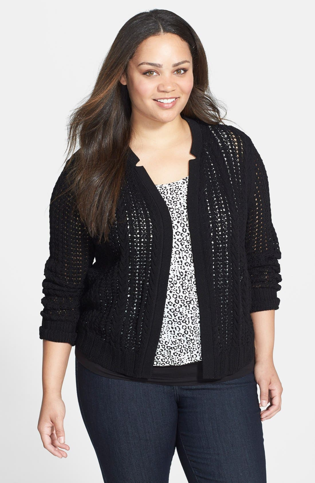 Alternate Image 1 Selected - Anne Klein Mixed Knit Cardigan (Plus Size)