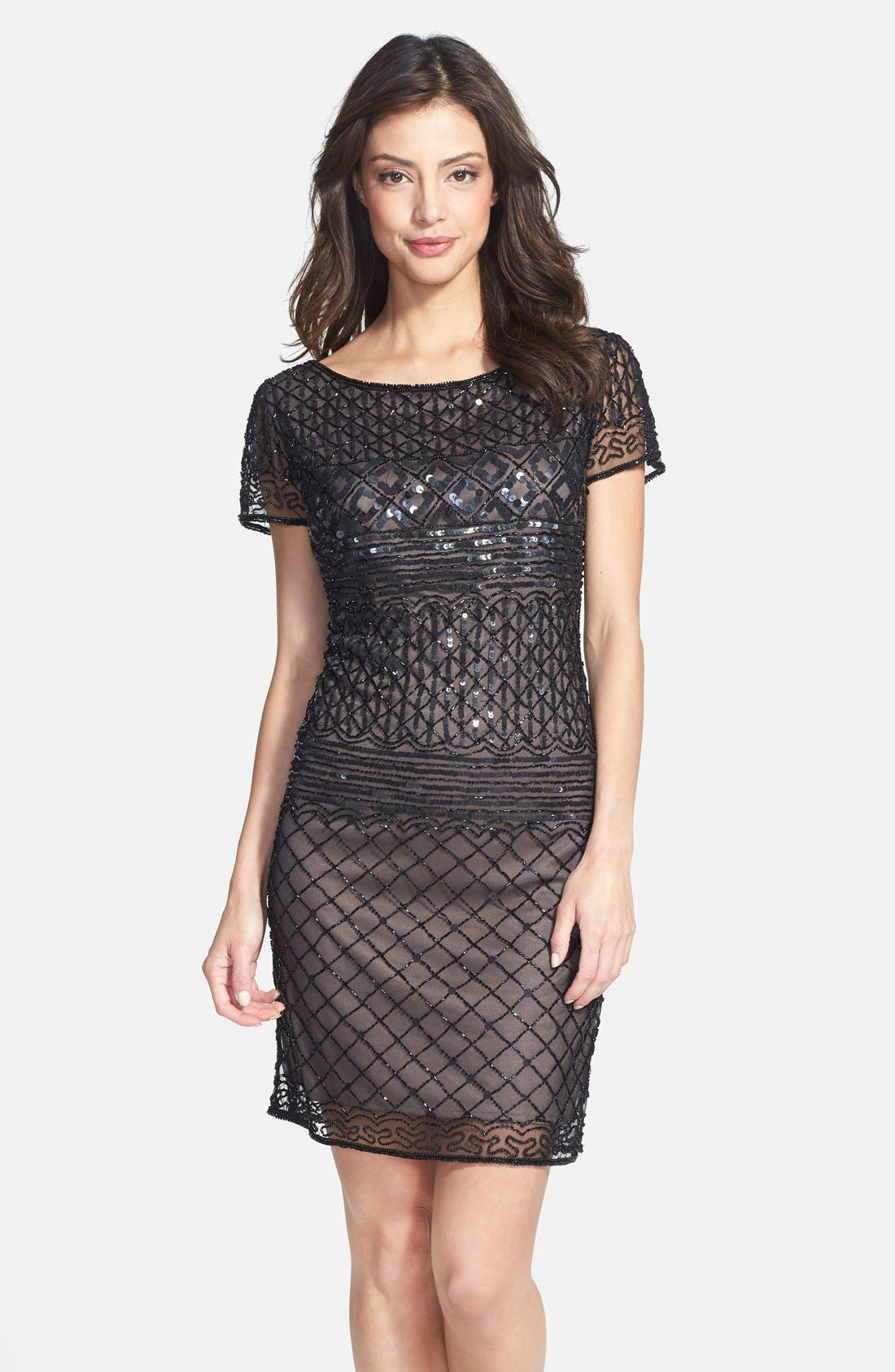Main Image - Pisarro Nights Beaded Short Sleeve Dress (Regular & Petite)
