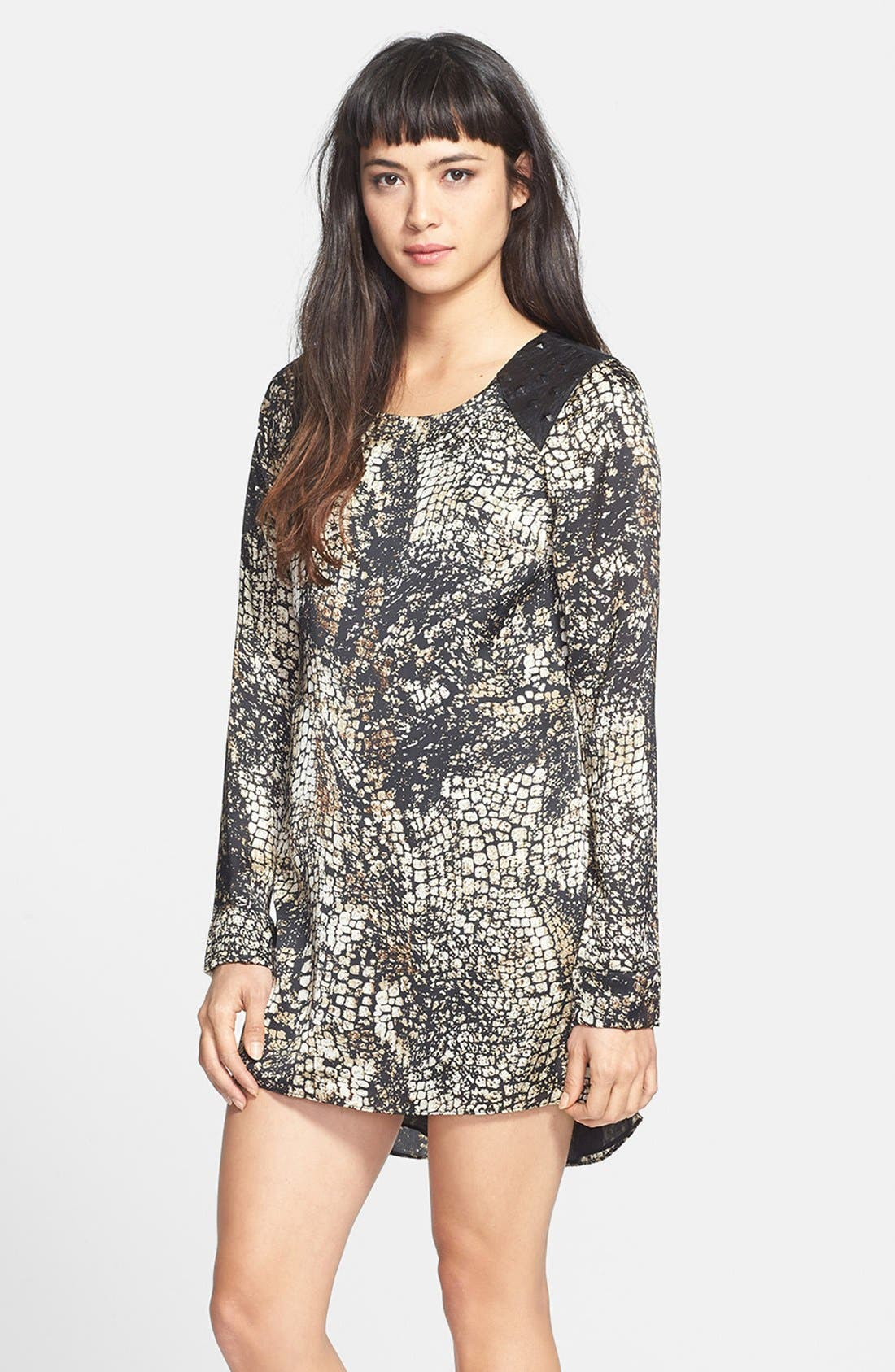 Alternate Image 1 Selected - Dress the Population Leather Yoke Print Shift Dress