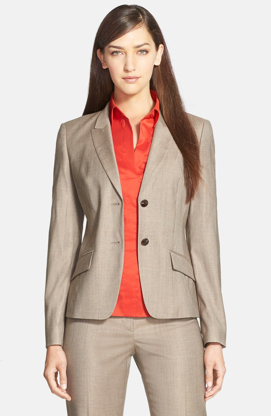 Main Image - BOSS 'Jadena' Stretch Crepe Jacket