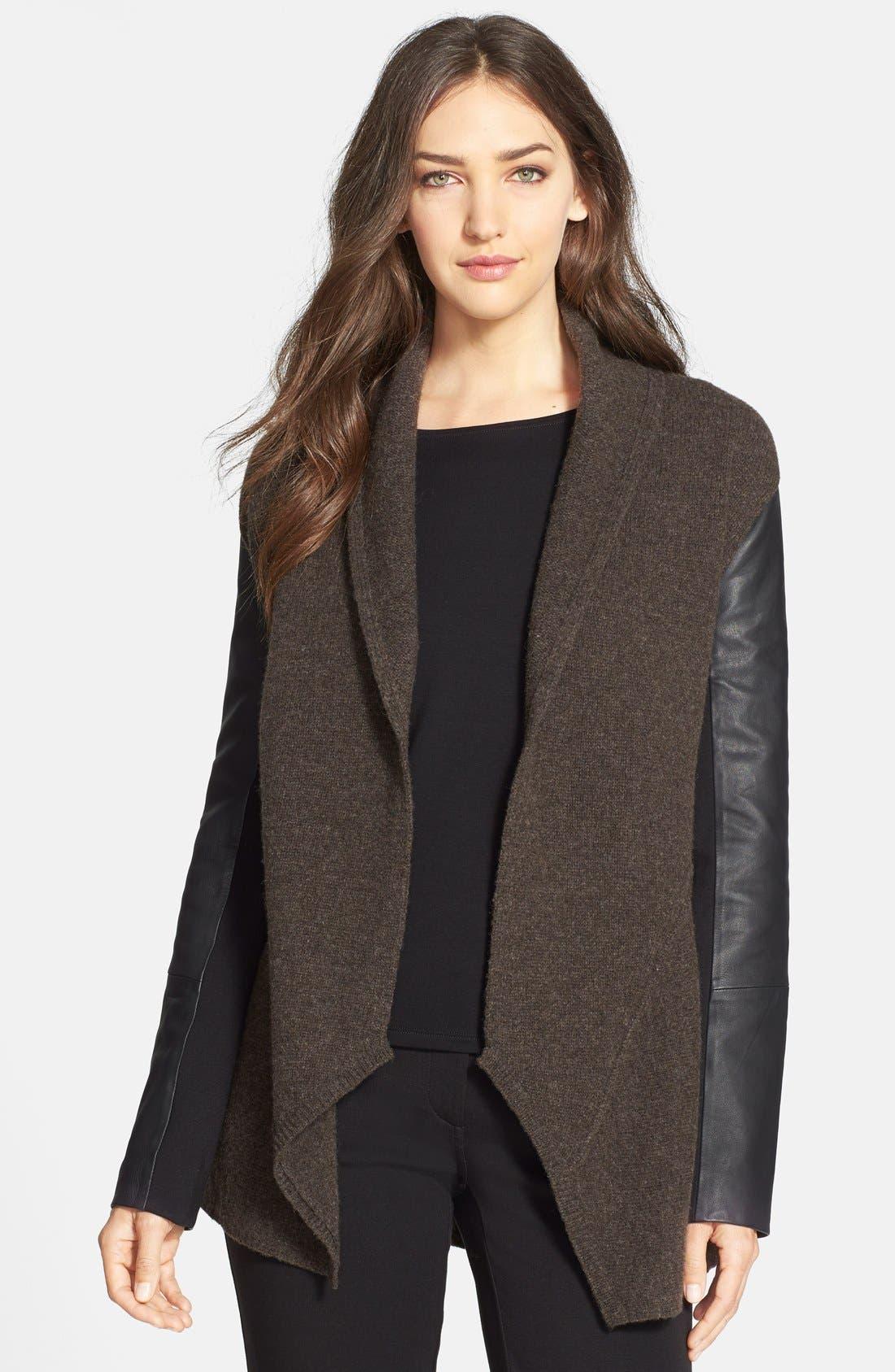 Alternate Image 1 Selected - Eileen Fisher Leather Sleeve Merino Lambswool Jacket (Regular & Petite)
