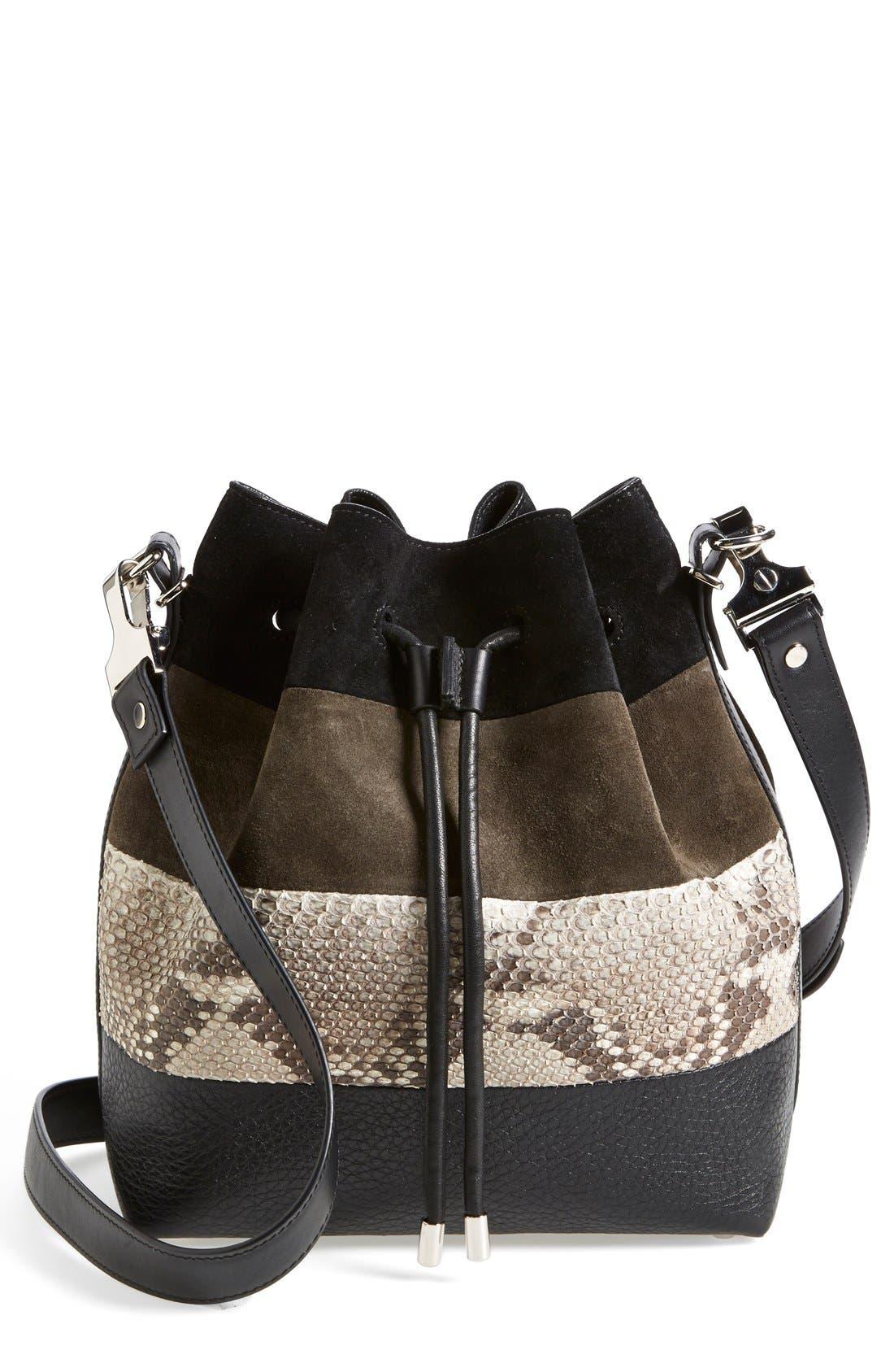 Alternate Image 1 Selected - Proenza Schouler 'Medium' Suede & Genuine Snakeskin Bucket Bag