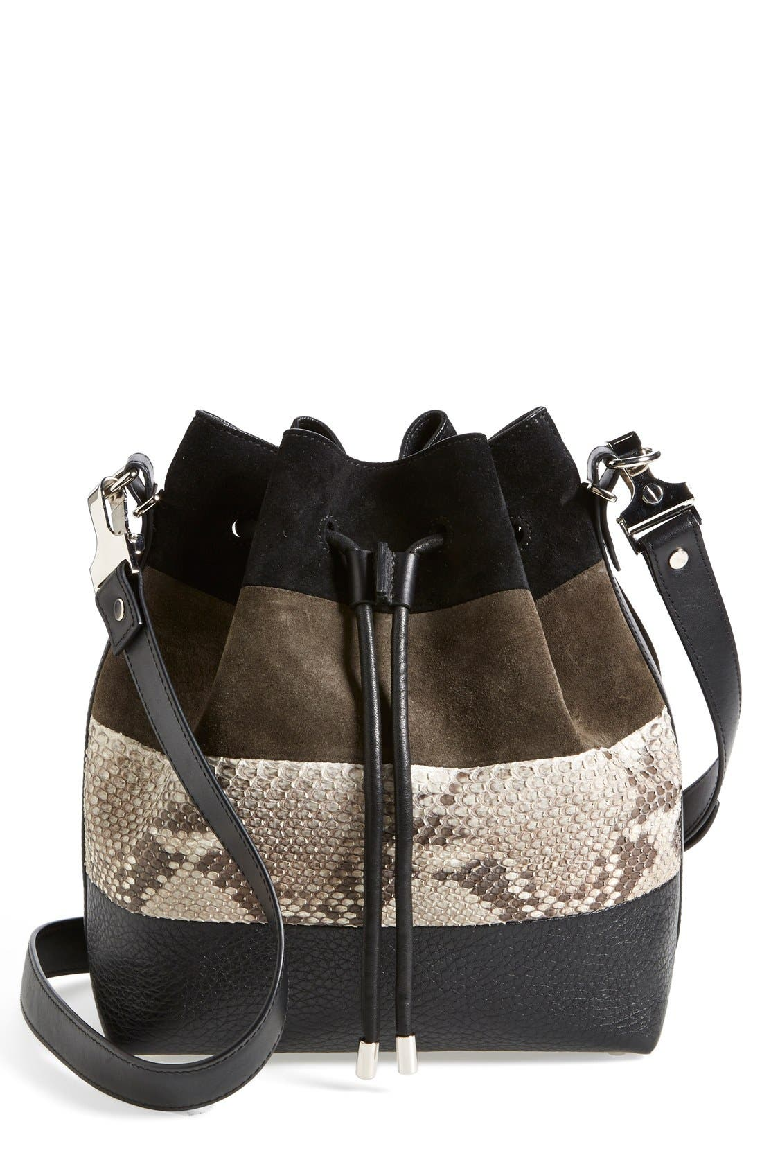 Main Image - Proenza Schouler 'Medium' Suede & Genuine Snakeskin Bucket Bag