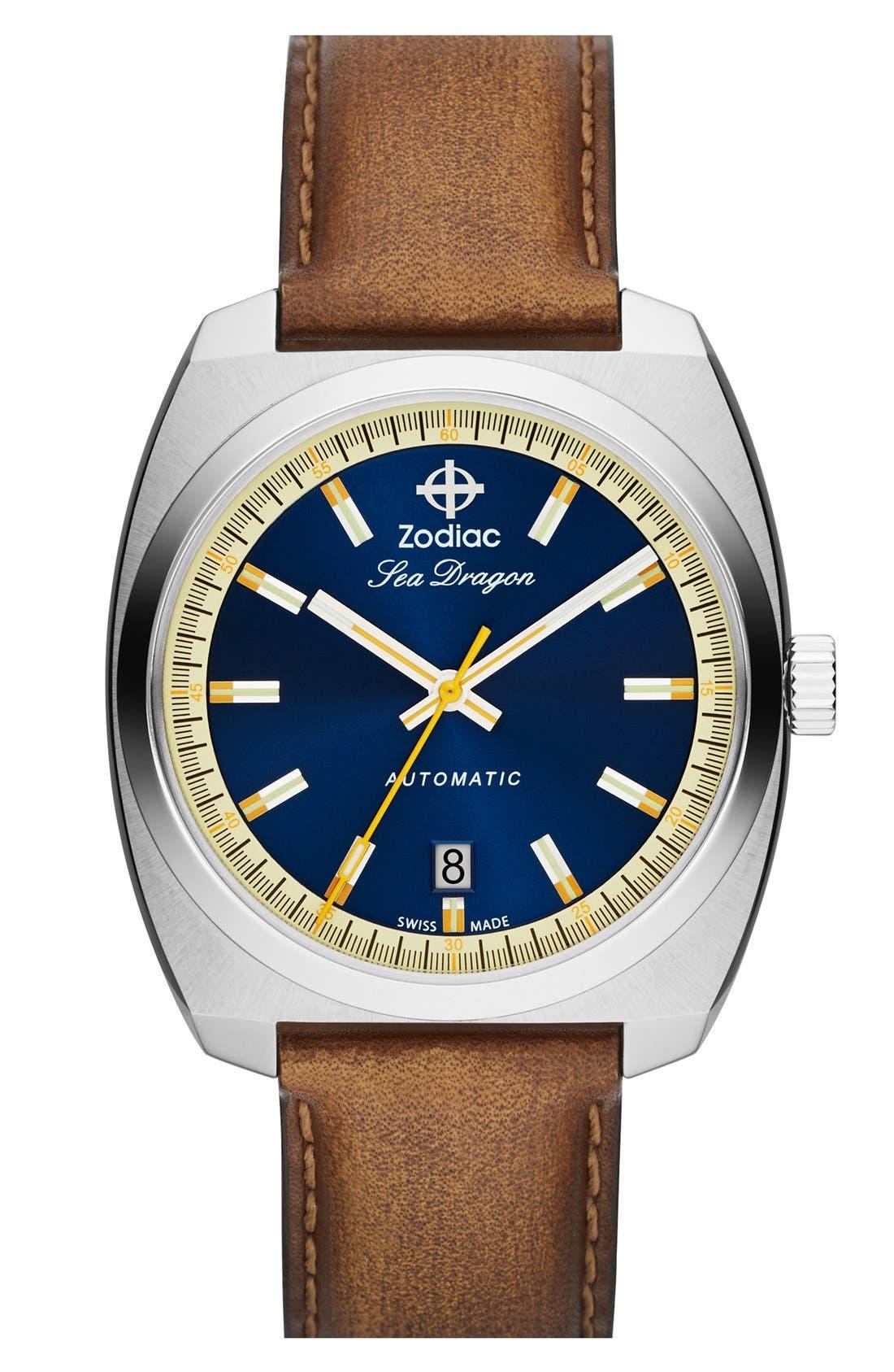 Main Image - Zodiac 'Sea Dragon' Automatic Leather Strap Watch, 39mm