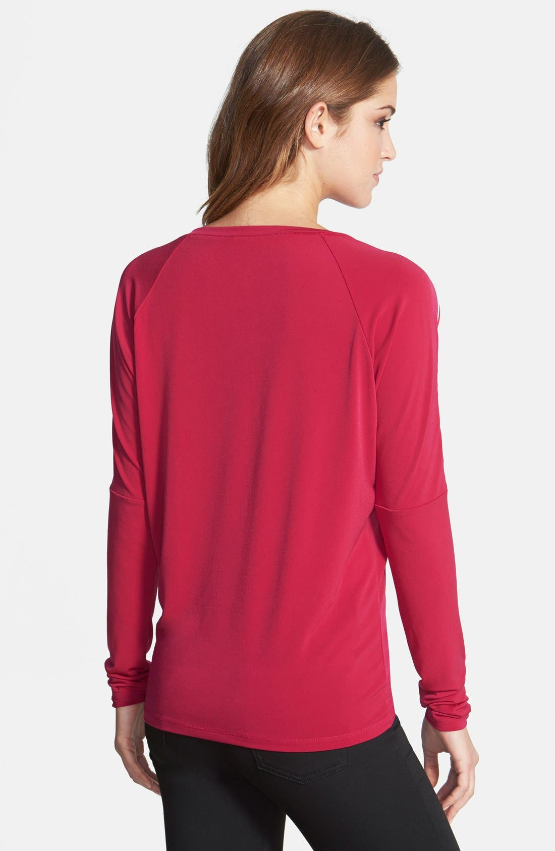 Alternate Image 2  - MICHAEL Michael Kors Zip Shoulder Raglan Top (Regular & Petite)