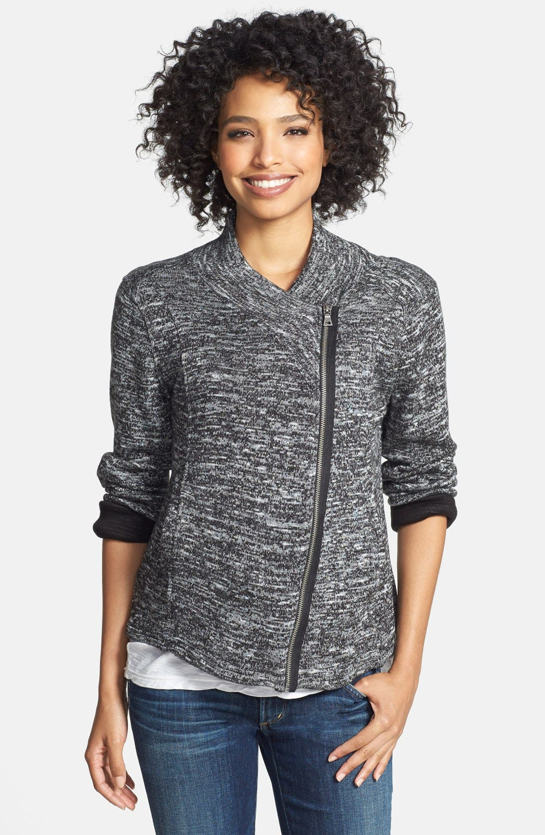 Main Image - Two by Vince Camuto Asymmetrical Zip Mélange Knit Cardigan
