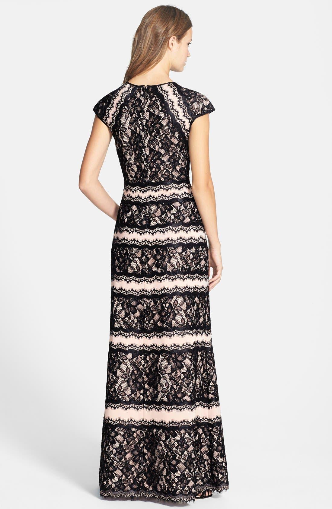 Alternate Image 2  - Tadashi Shoji Lace Embellished Neoprene Gown