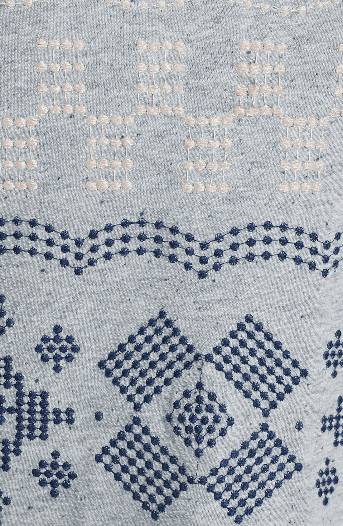 Alternate Image 3  - Lucky Brand 'Faye' Embroidered Boatneck Tee (Plus Size)