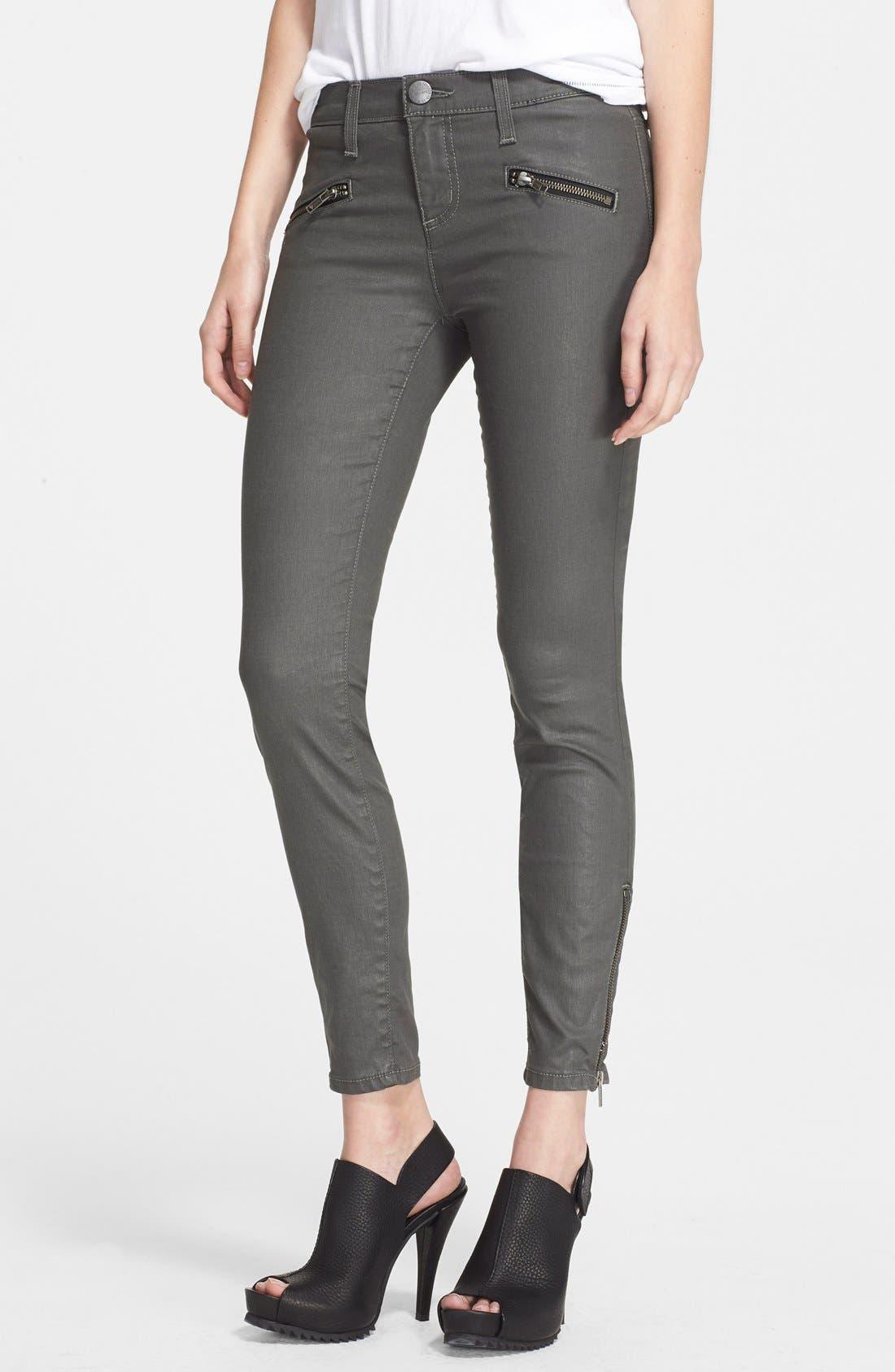 Alternate Image 1 Selected - Current/Elliott 'The Soho Zip' Skinny Jeans (Castle Coated)