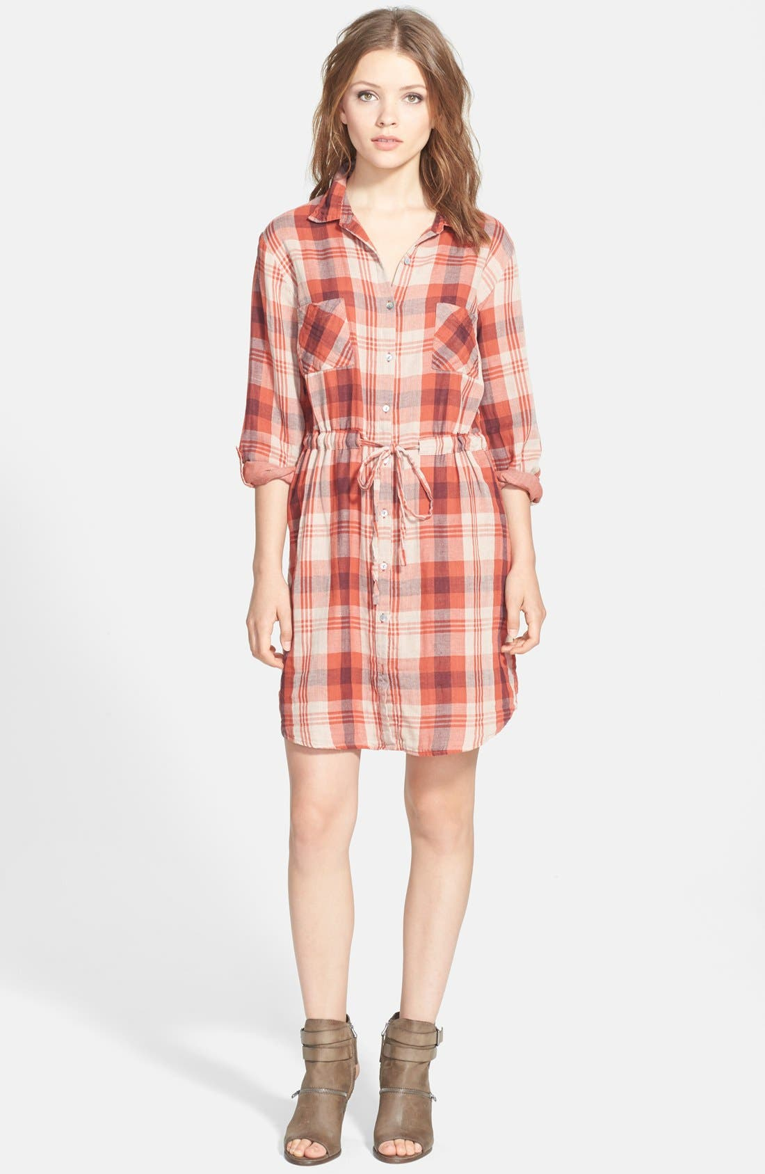 Alternate Image 1 Selected - Velvet by Graham & Spencer Double Face Plaid Shirtdress
