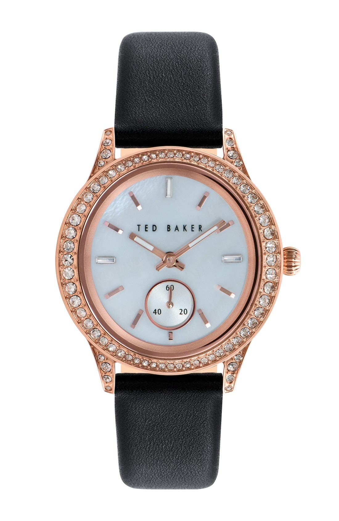 Alternate Image 1 Selected - Ted Baker London 'Vintage Glam' Crystal Bezel Leather Strap Watch, 34mm